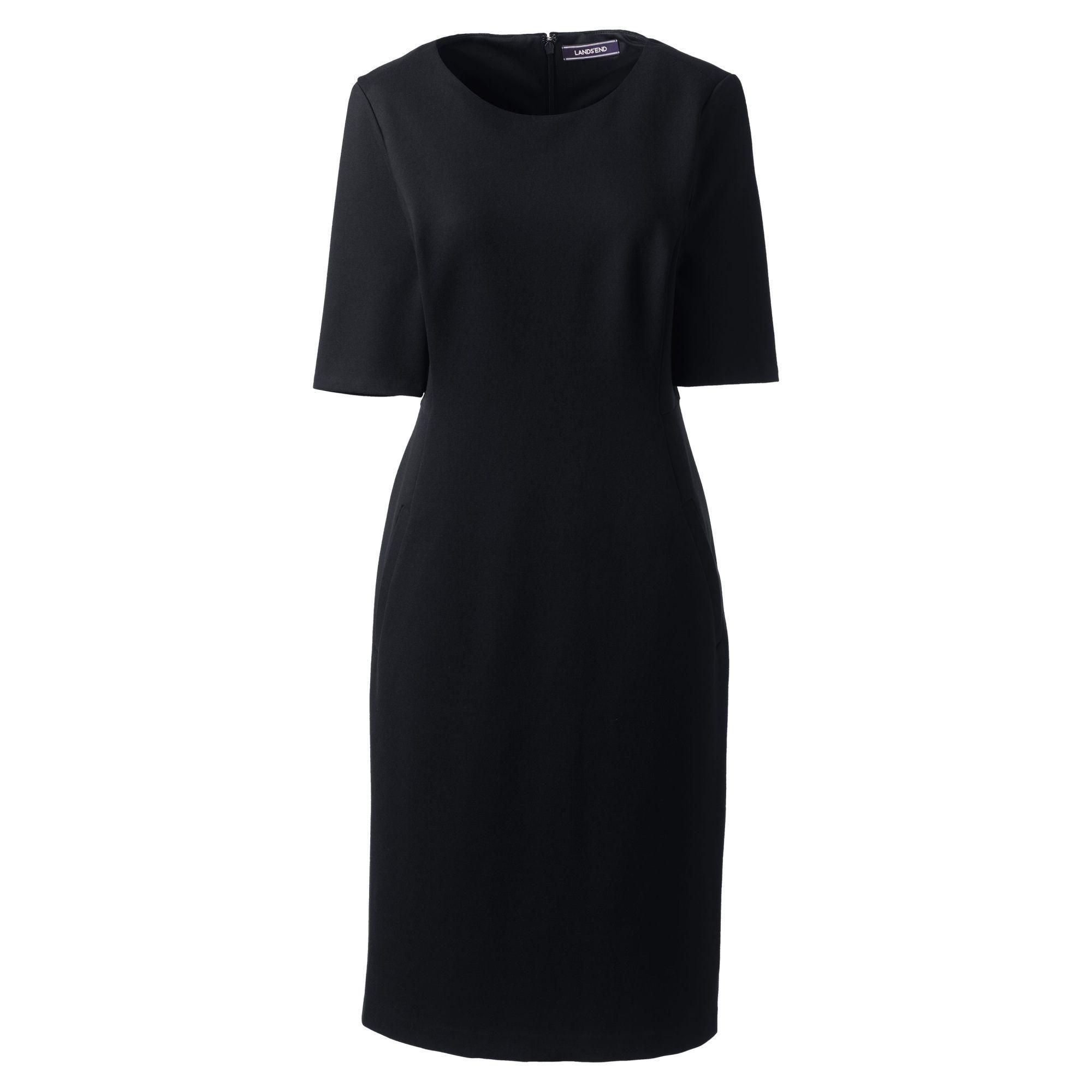 4753c288 Lands' End Black Elbow Sleeves Ponte Sheath Dress in Black - Lyst