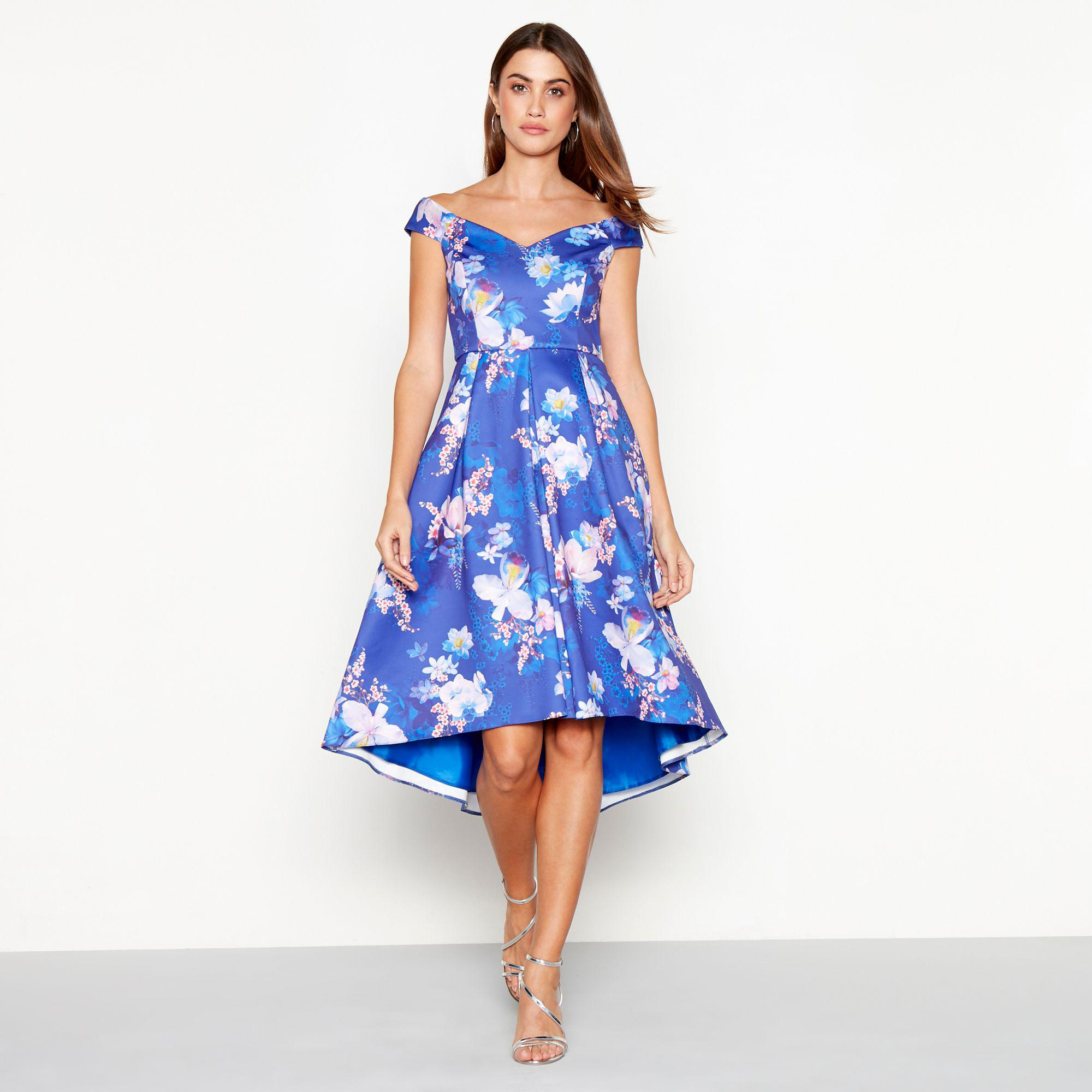 d33f2d569c Début Bright Blue Floral Print Scuba V-neck Short Sleeve High Low ...