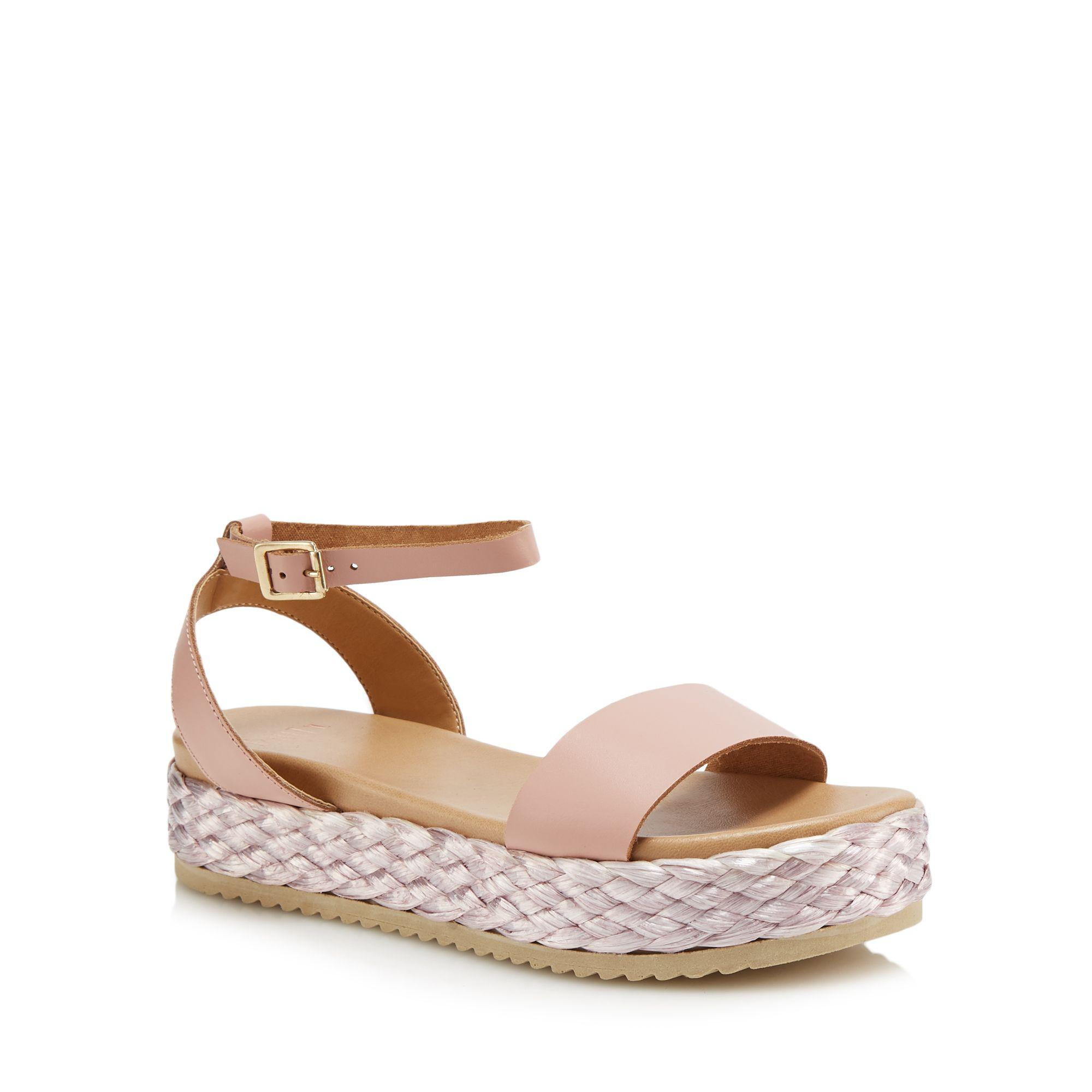 78ba47067df Faith Pink Leather  jake  Mid Flatform Ankle Strap Sandals in Pink ...
