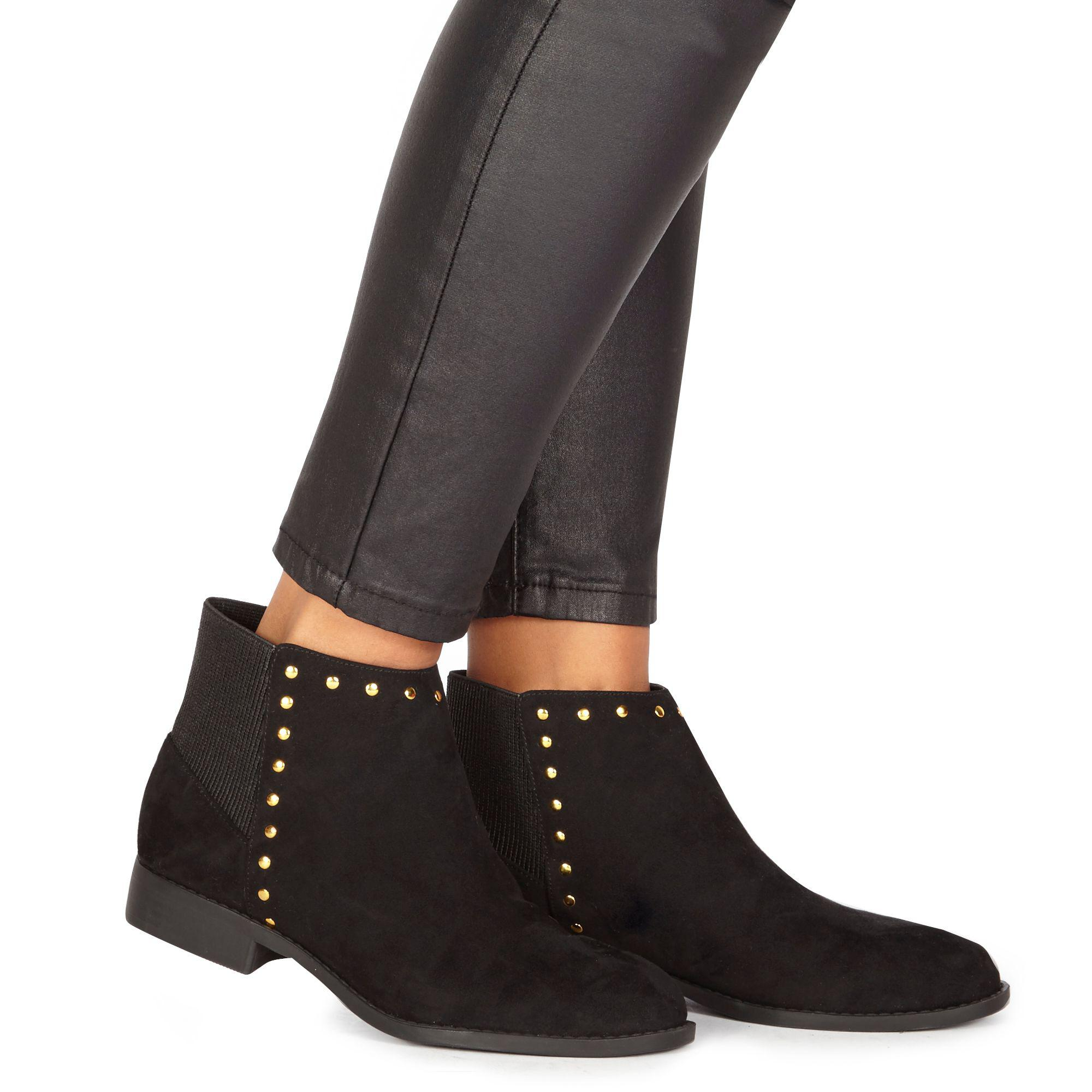 54516a3ac71e Faith Black Suedette  werlin  Wide Fit Ankle Boots in Black - Lyst