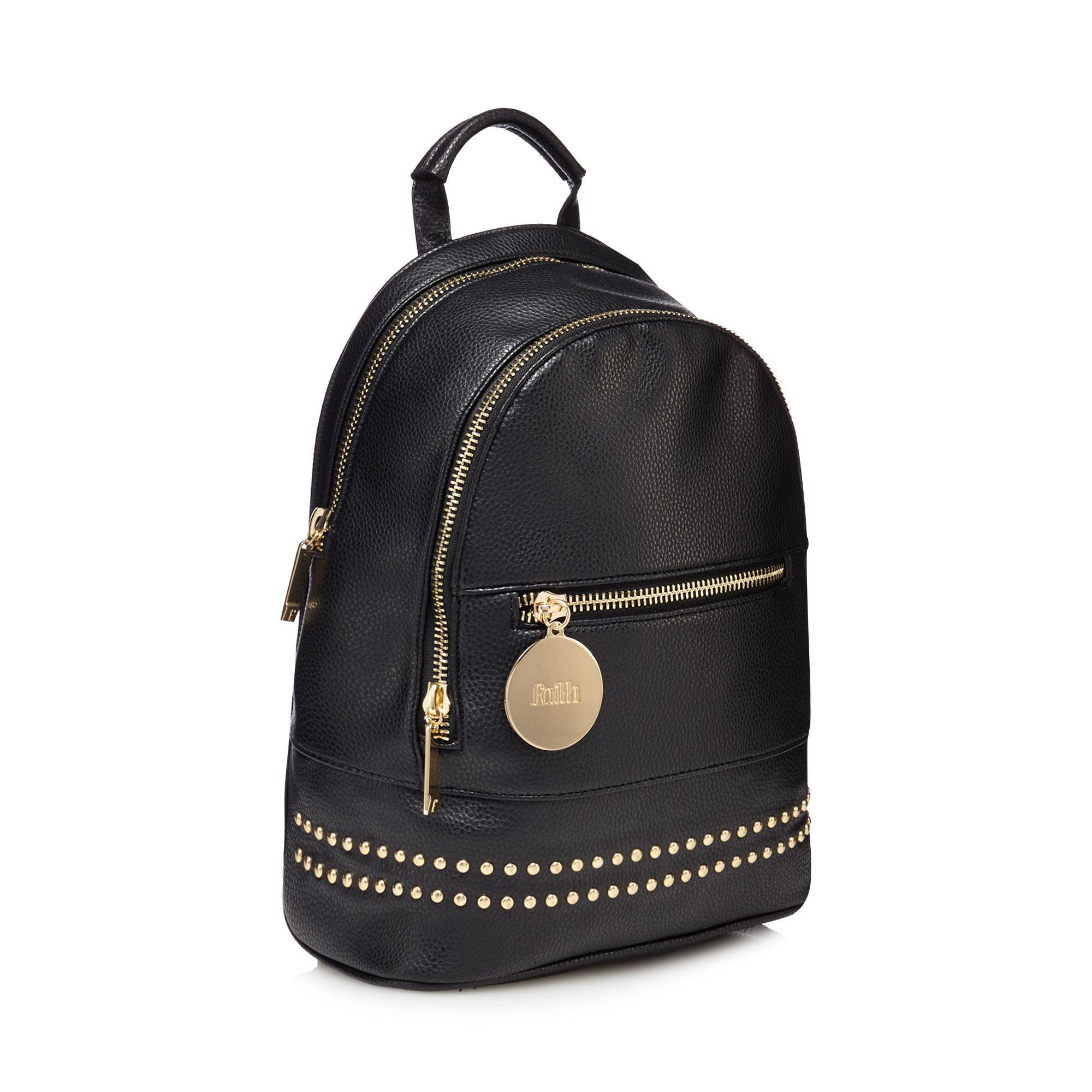 Faith Leather Black Studded Backpack