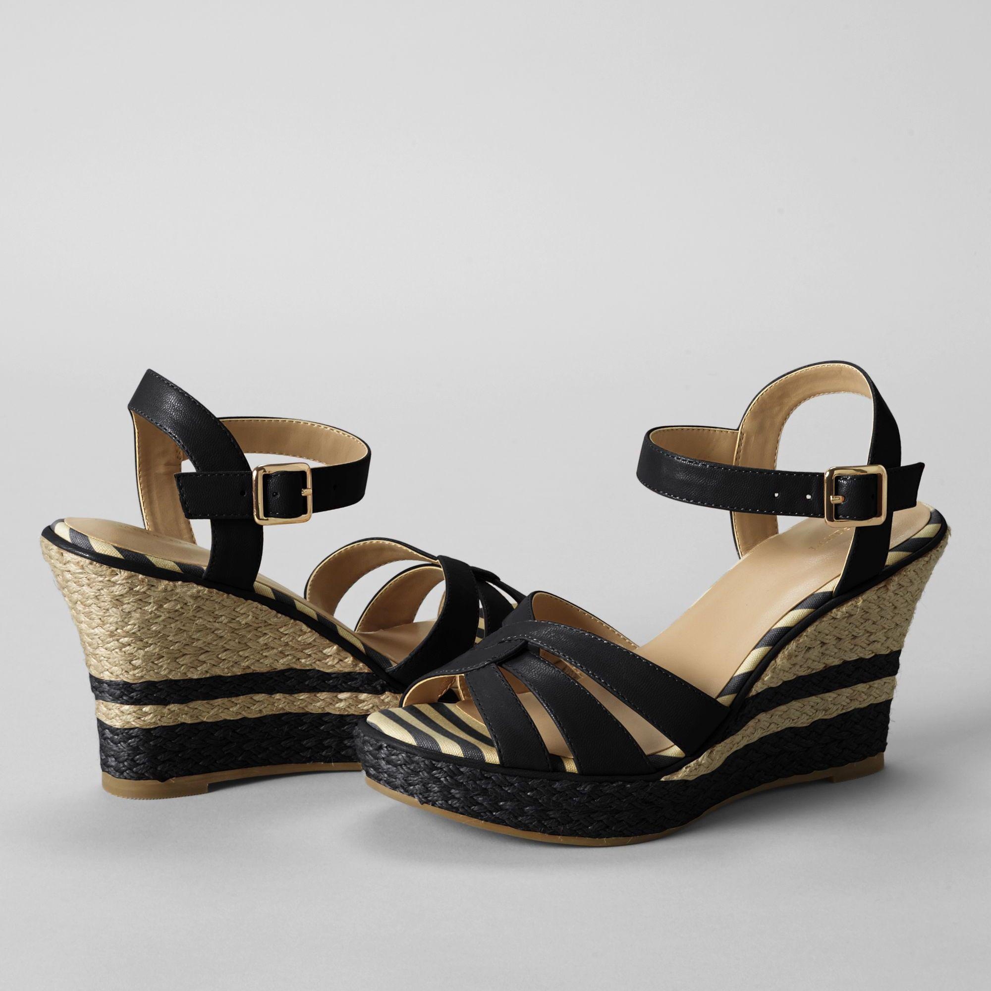 bf69fb2851191 Lands  End - Black Women s Simona Wedge Sandals - Lyst. View fullscreen
