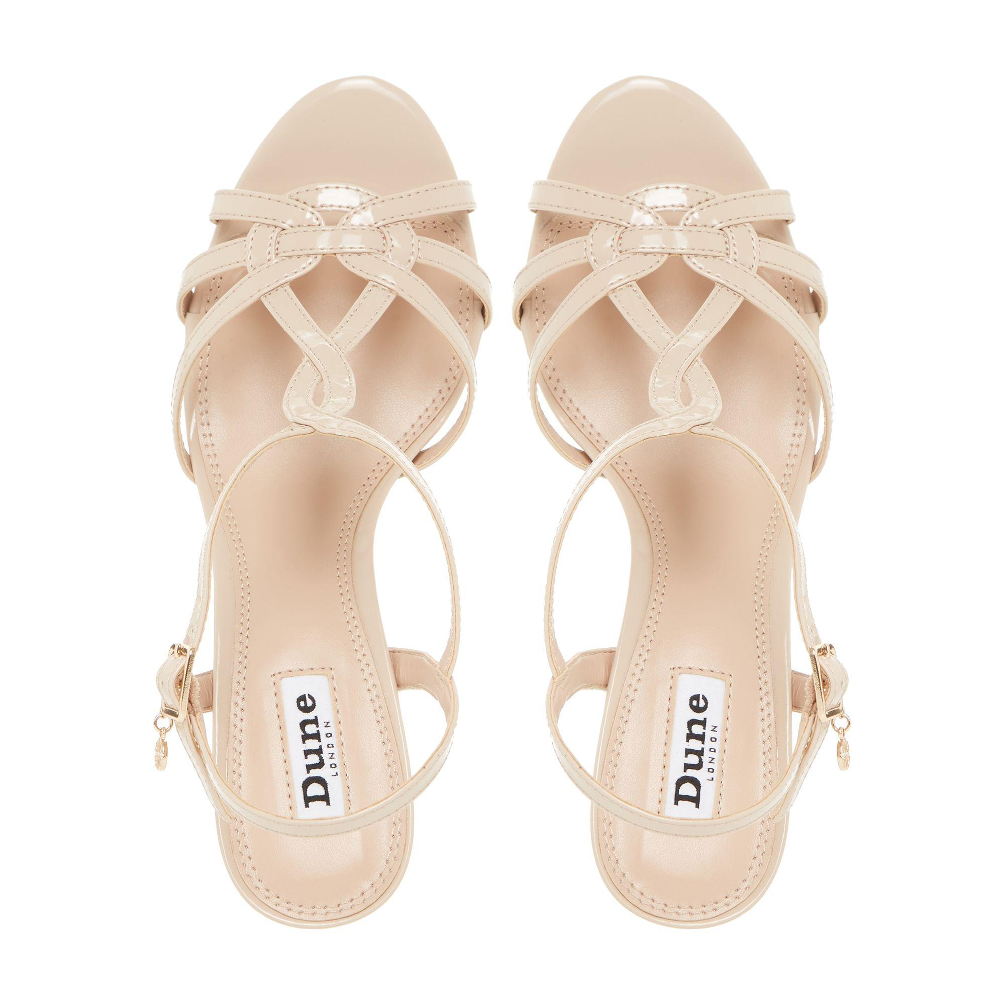 98b6940142060 Dune Natural 'miniee' Strappy Mid Heel Sandals in Natural - Lyst