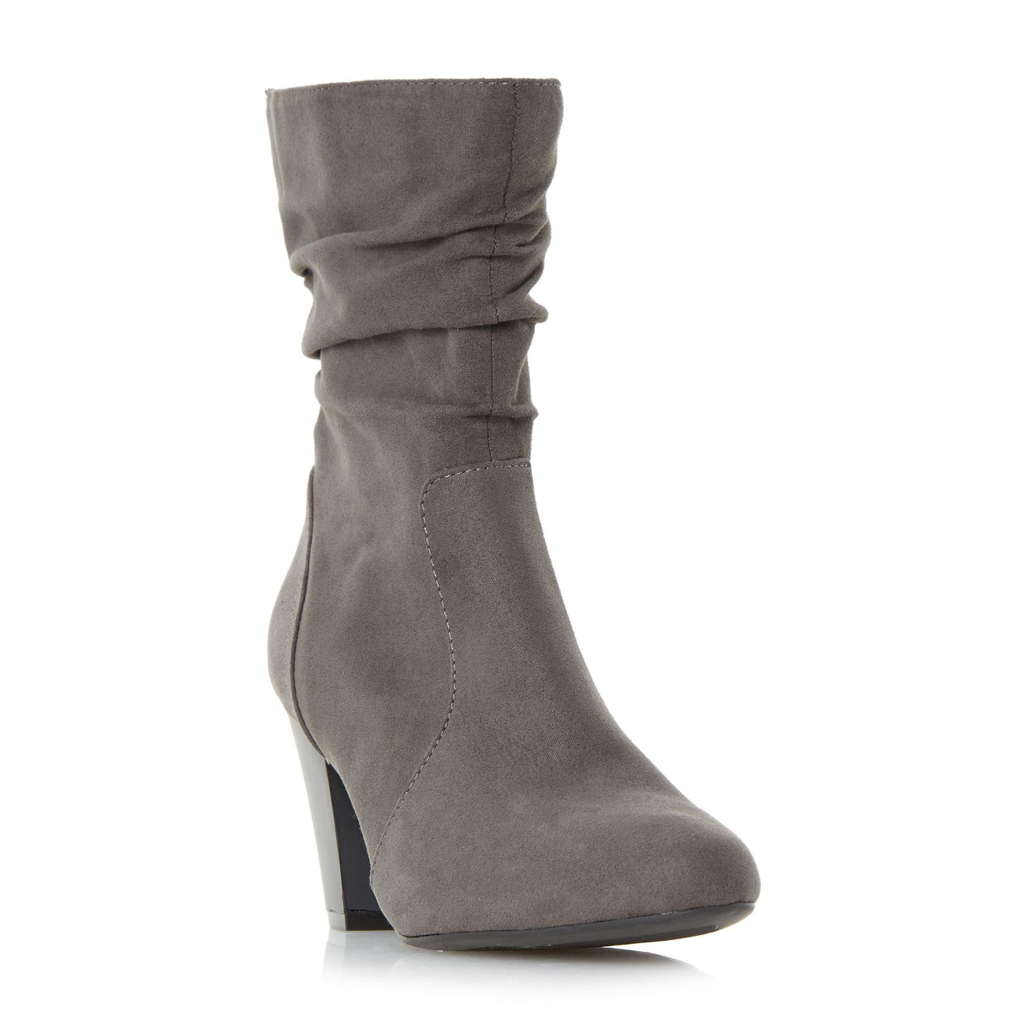 508b8c752710 Dune Grey  ronni  Ruched Heeled Calf Boots in Gray - Lyst