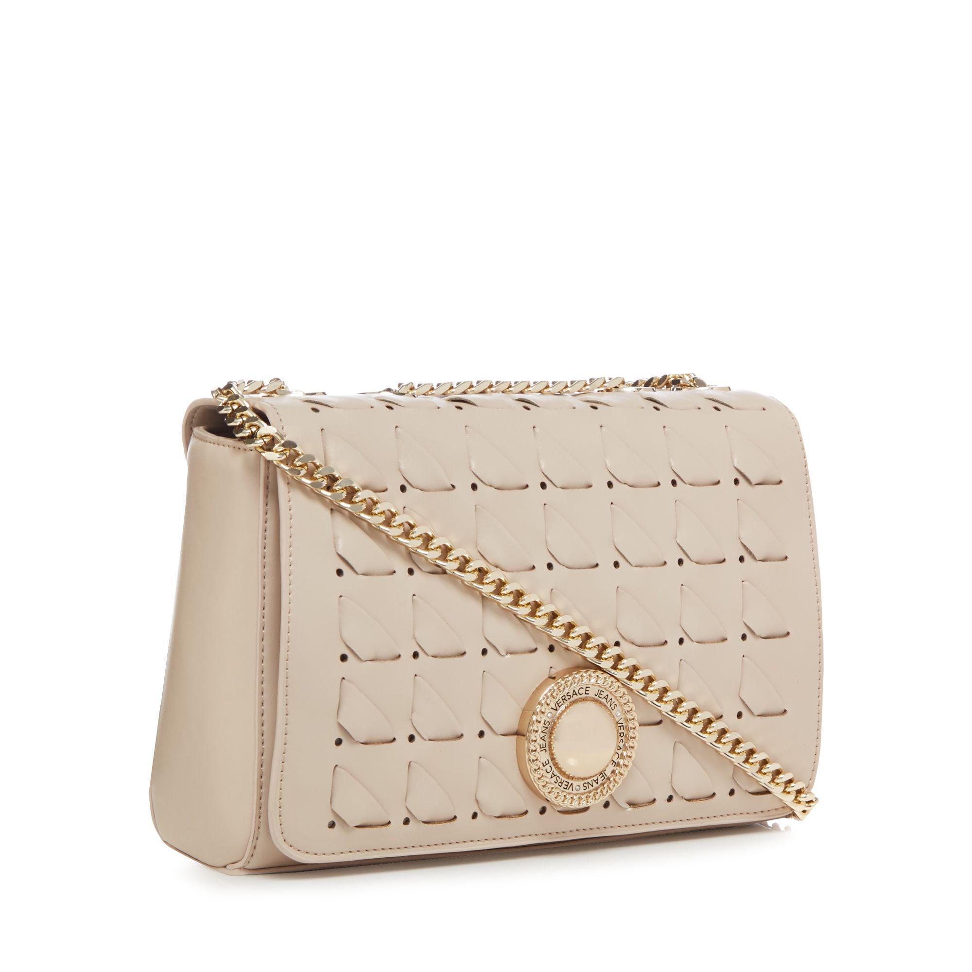 Versace Jeans Couture Denim Cream Interlace Cross Body Bag in Natural