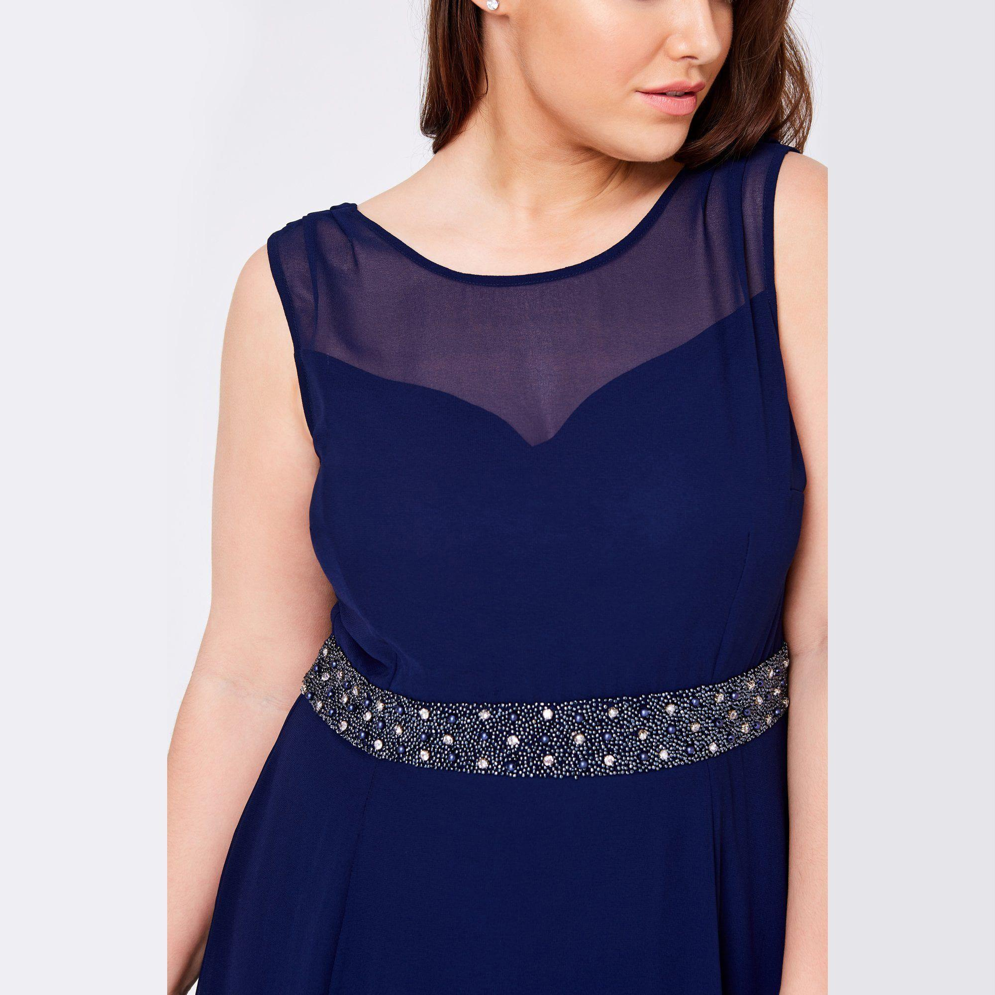 fc7386c9 Little Mistress - Blue Navy Nadine Navy Hand-embellished Sequin Cowl Back Maxi  Dress -. View fullscreen