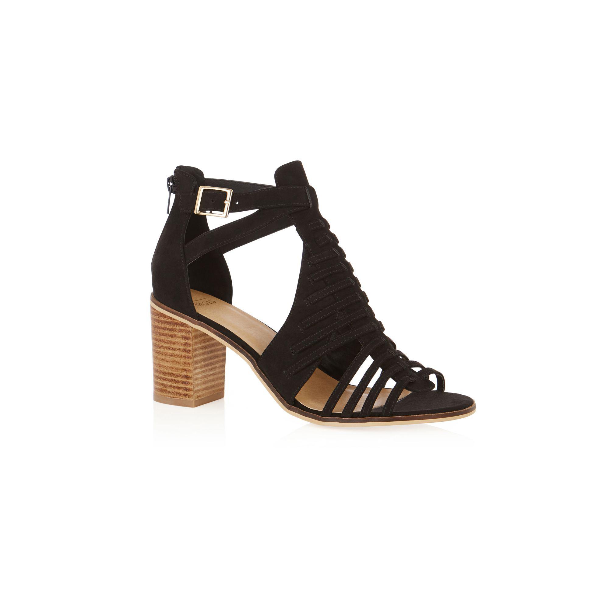 4cfc9359c634 Oasis Black 'millie' Strap Heeled Sandals in Black - Lyst