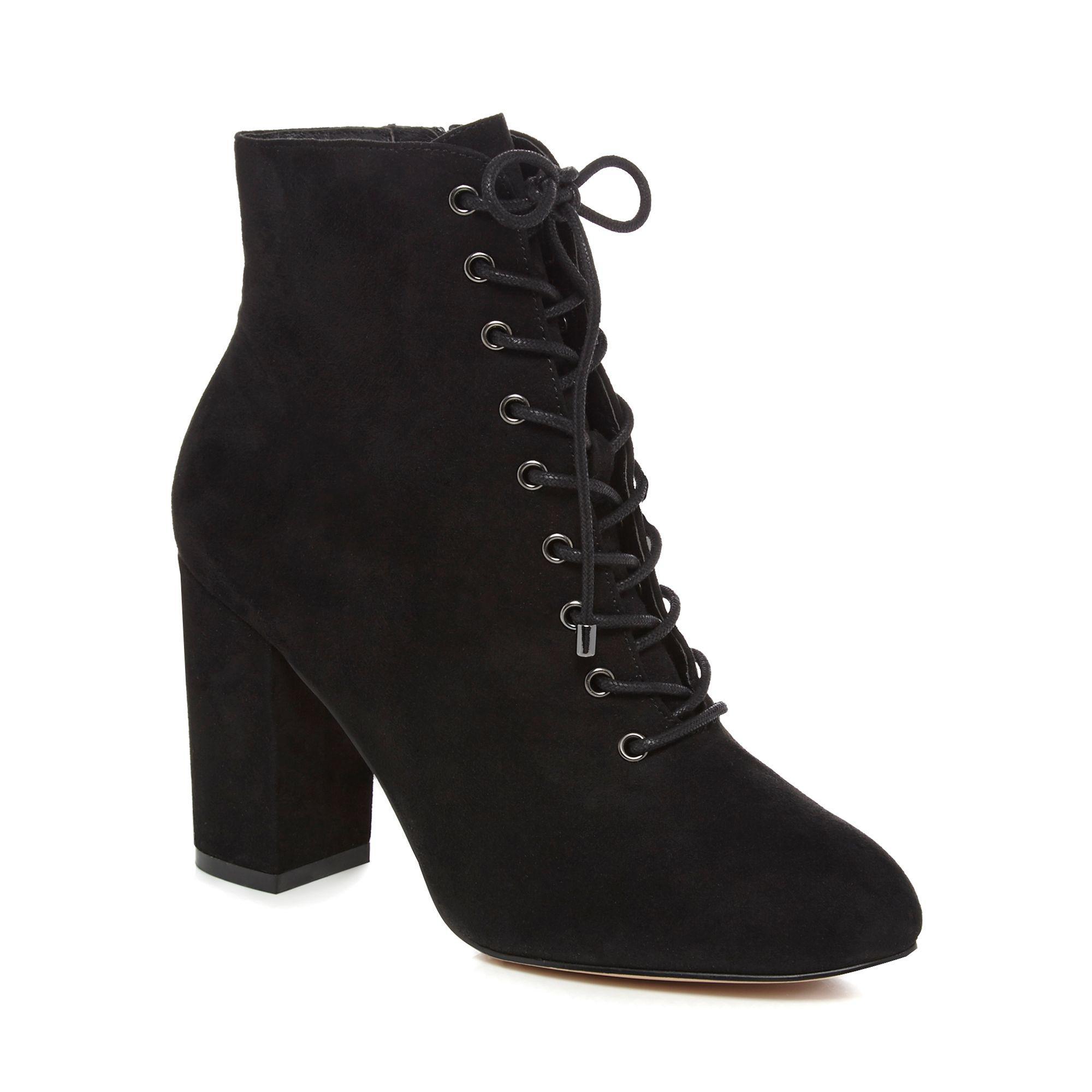 Faith Black Suedette 'barb' High Block Heel Ankle Boots