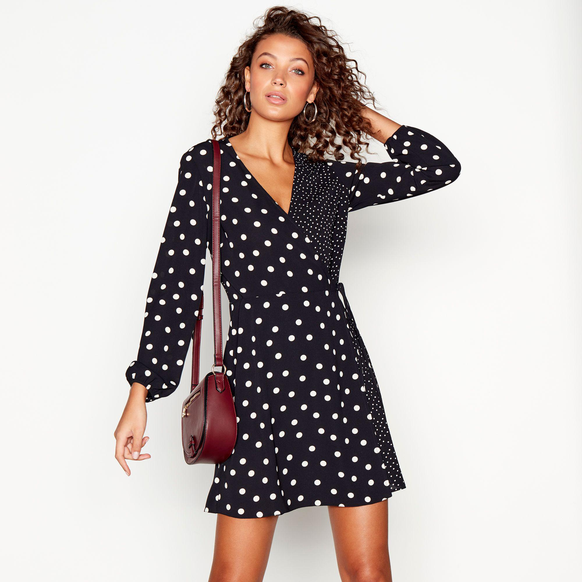 Red Herring Black Spot Print Long Sleeves V-neck Mini Wrap Dress in ... 4ac07c4e2
