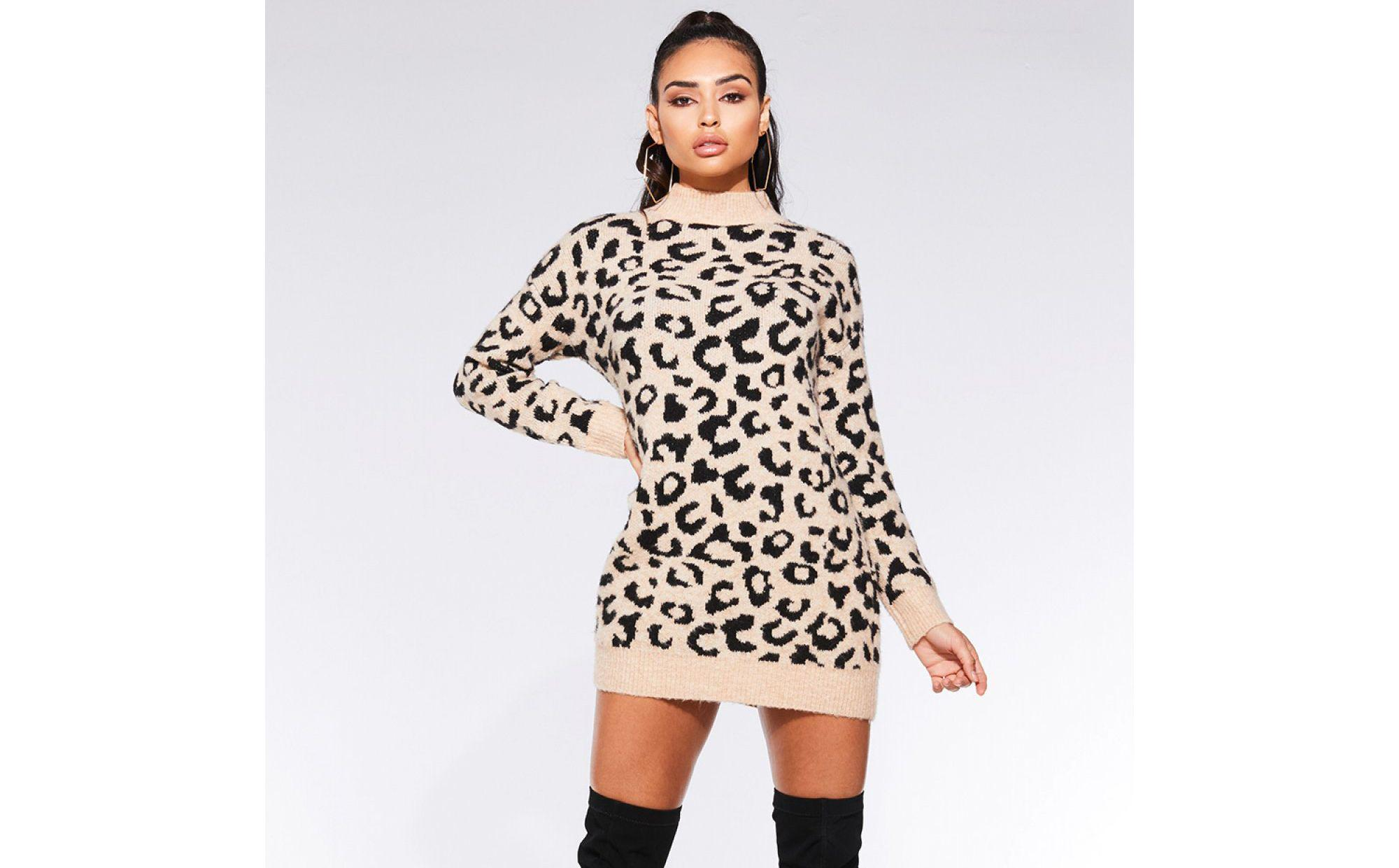 fdddde6d16ac Quiz Towie Stone And Black Knit Leopard Print Jumper in Black - Lyst