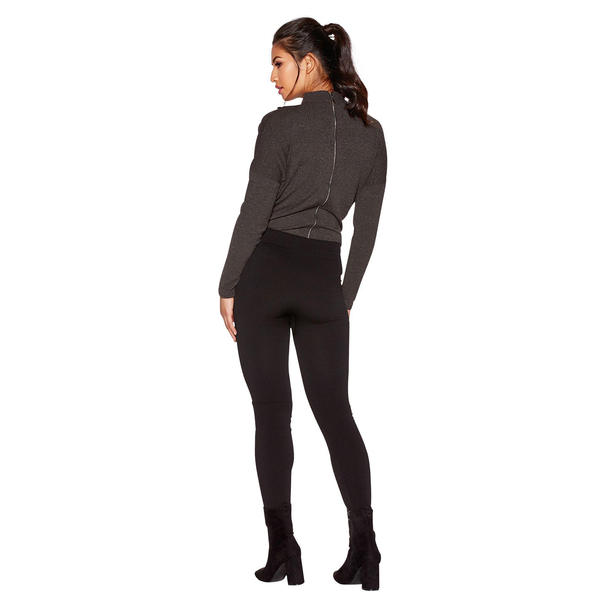 2ac9e8bc7287d7 Quiz - Black Fleece Lined Zip Detail Leggings - Lyst. View fullscreen