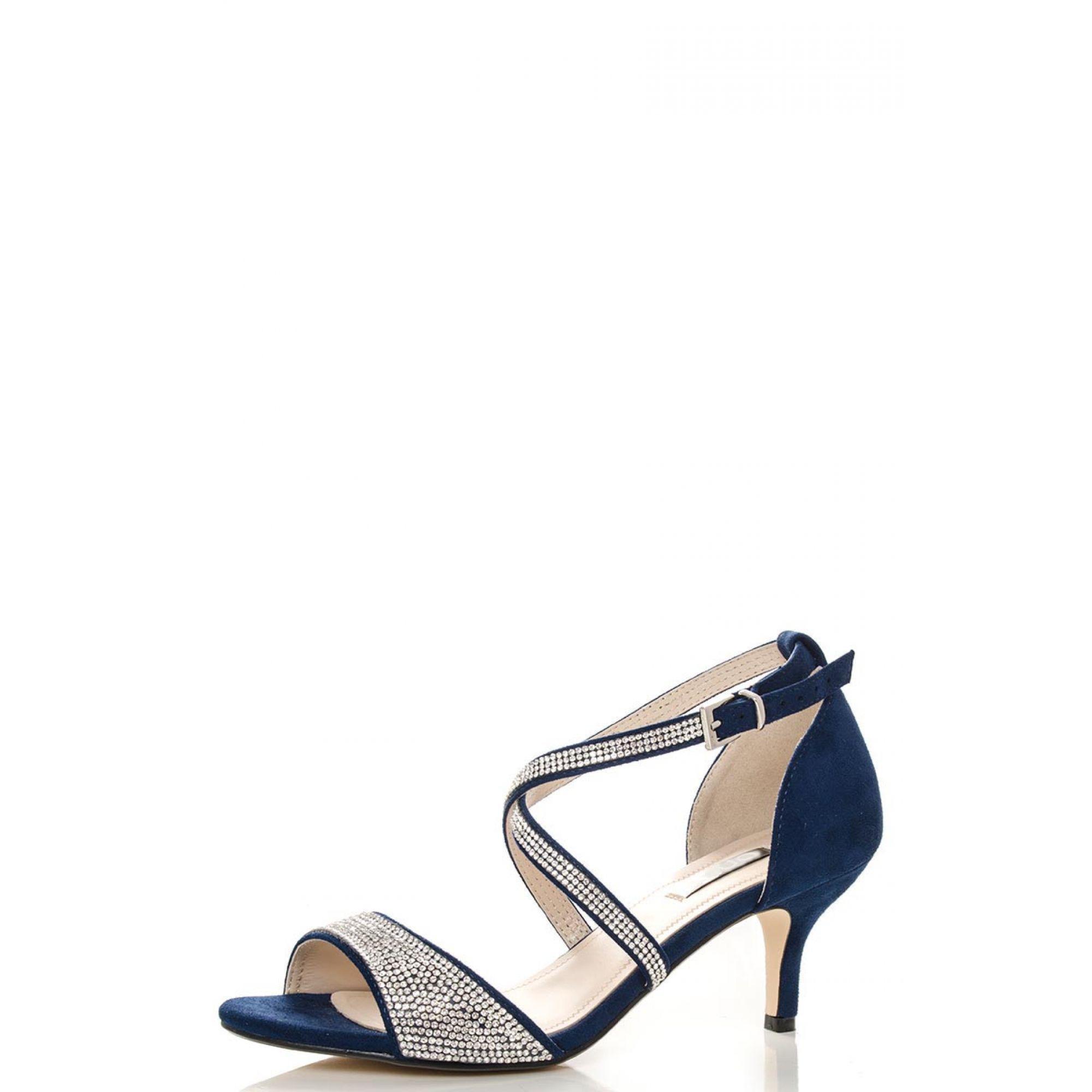 6e57d88359e3f Quiz Navy Diamante Low Heel Sandals in Blue - Lyst