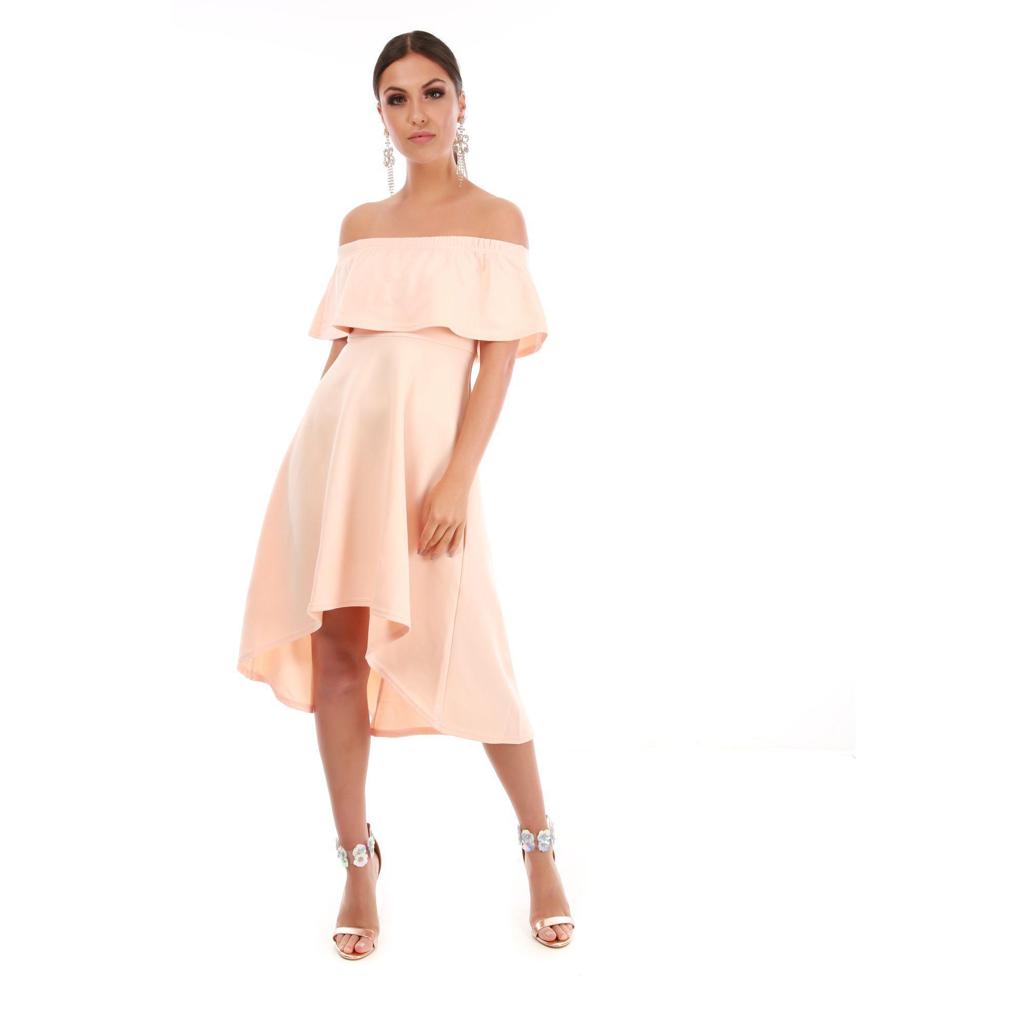 Be Jealous Natural Off Shoulder High Low Dress in Natural - Lyst d55d33804