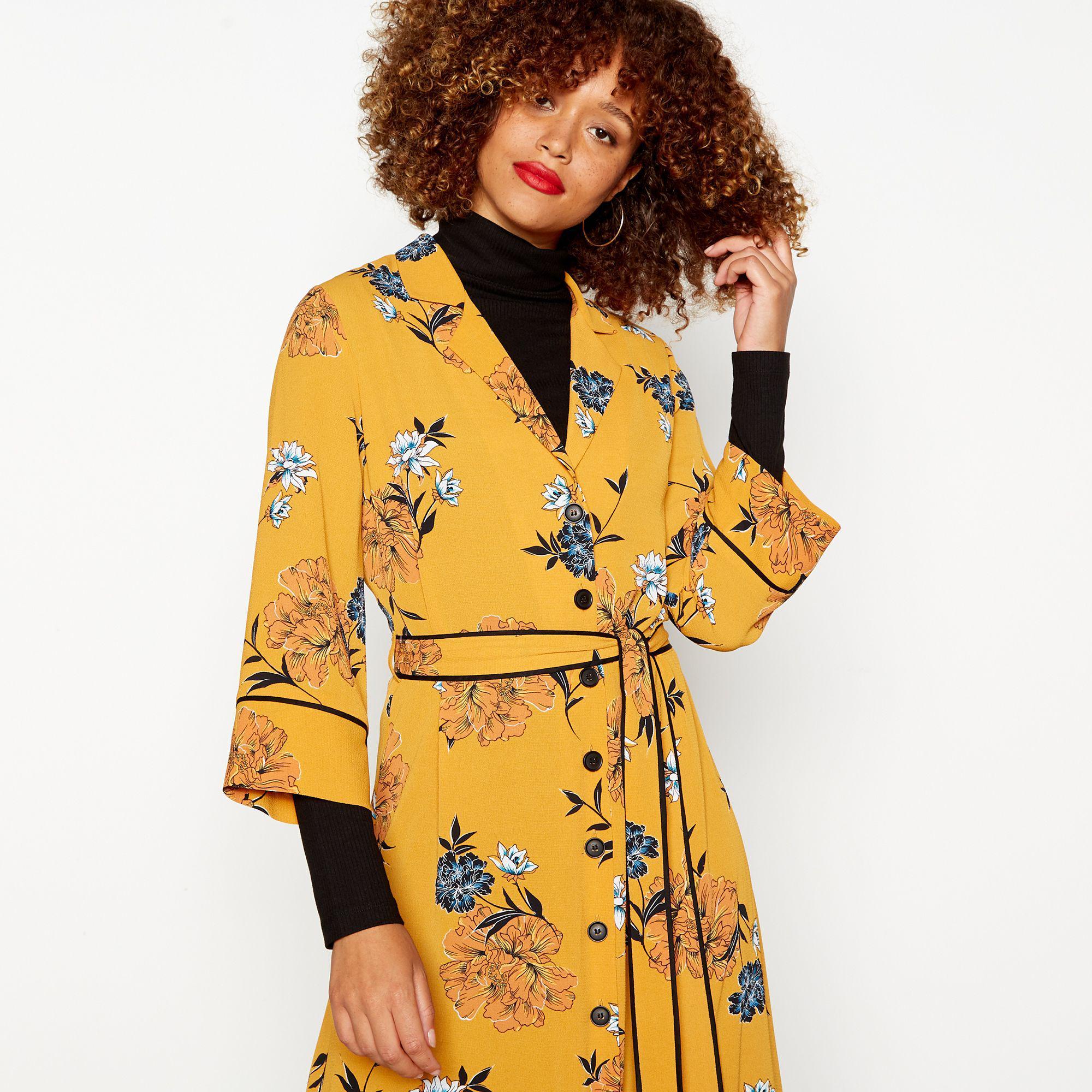 172e50b90a067 Red Herring Dark Yellow Floral Print Crepe Midi Dress in Yellow - Lyst