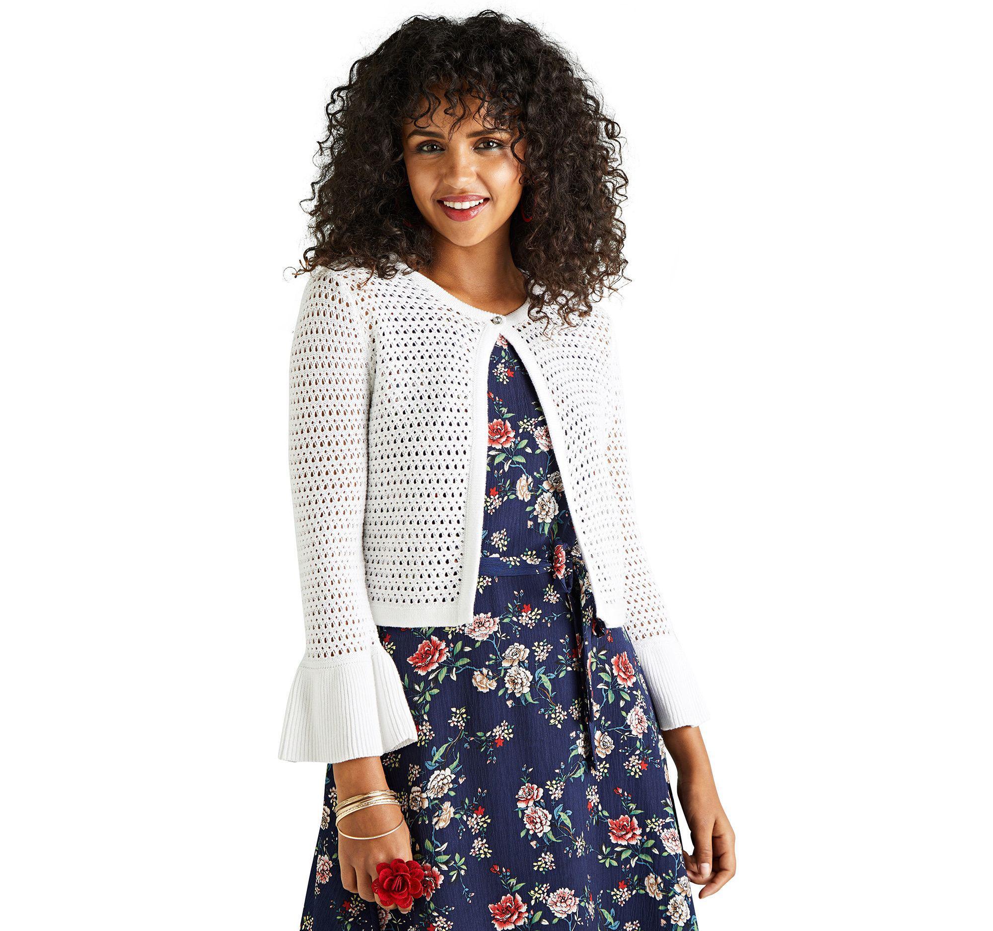 a09dd6170cb Yumi  White Crochet Flute Sleeve Cardigan in White - Lyst