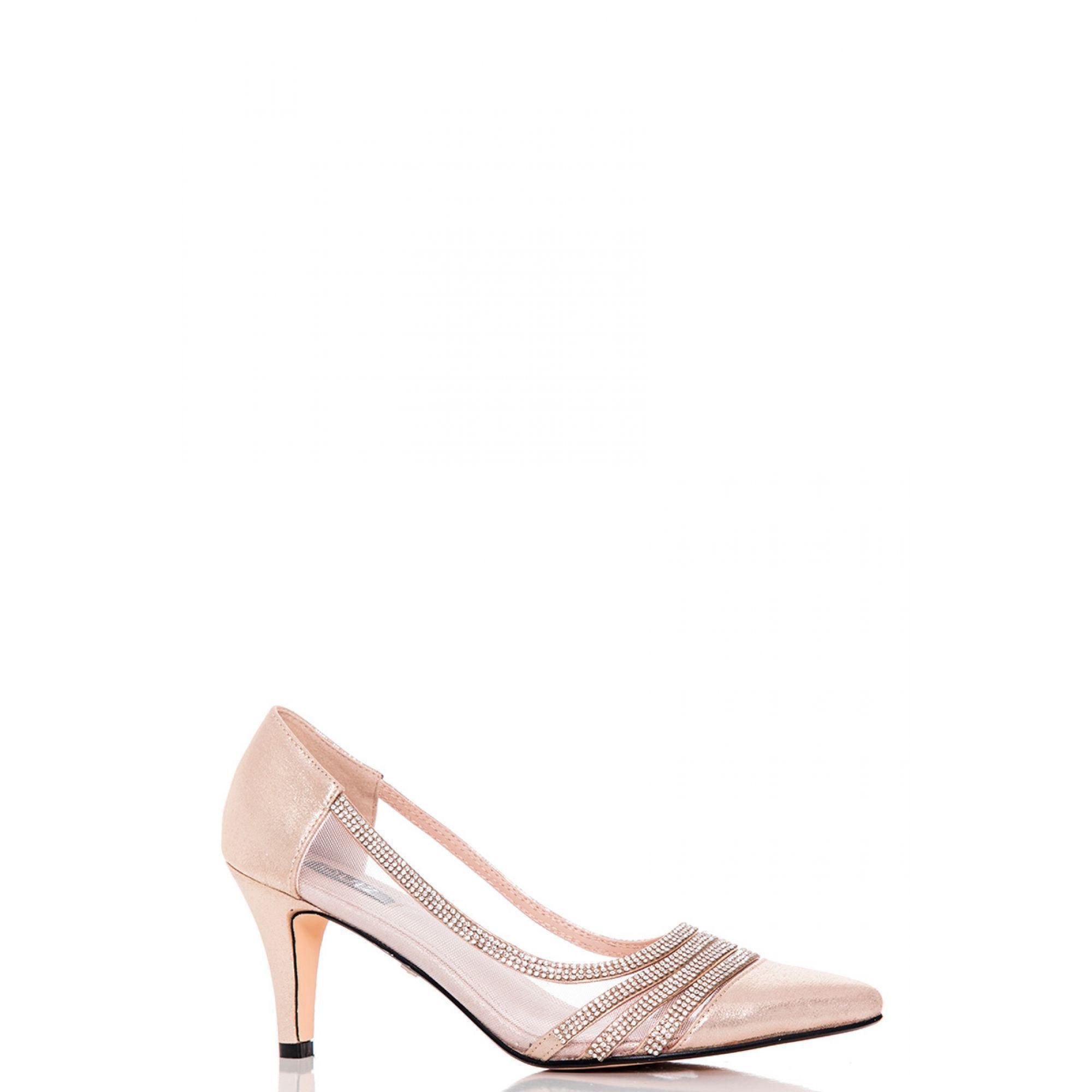 3e278bdbe74 Quiz. Women s Metallic Gold Shimmer Diamante And Mesh Low Heel Court Shoes