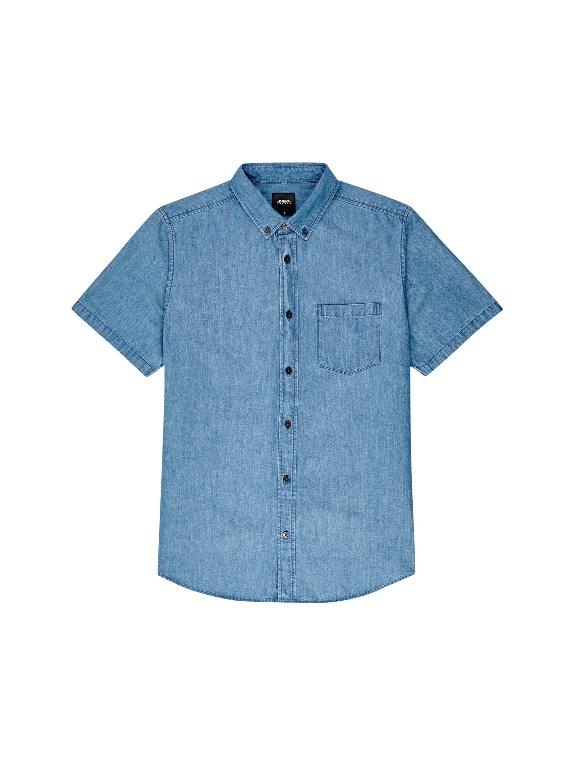 cf9011a01b Burton - Blue Mid Wash Short Sleeve Denim Shirt for Men - Lyst. View  fullscreen
