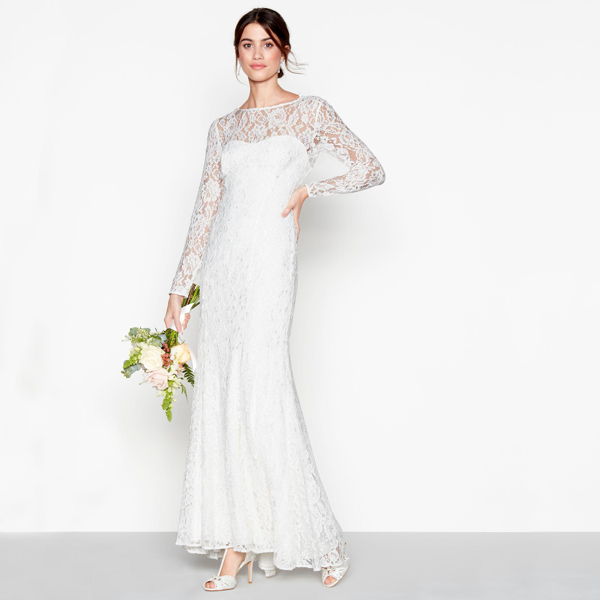 Ivory Lace Eleanor High Neck Long Sleeves Full Length Wedding Dress