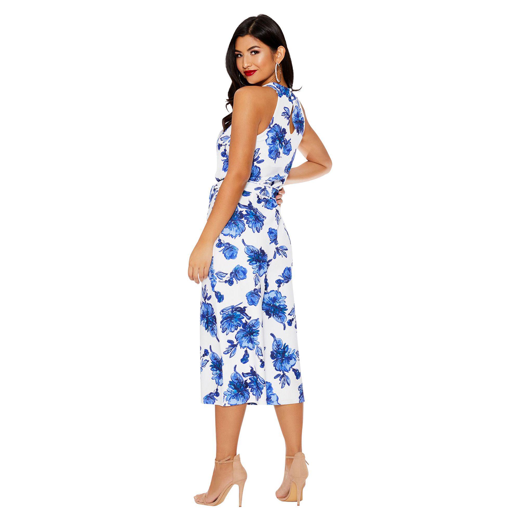 4cc9115d2c Quiz - Blue And White Floral Print Jumpsuit - Lyst. View fullscreen