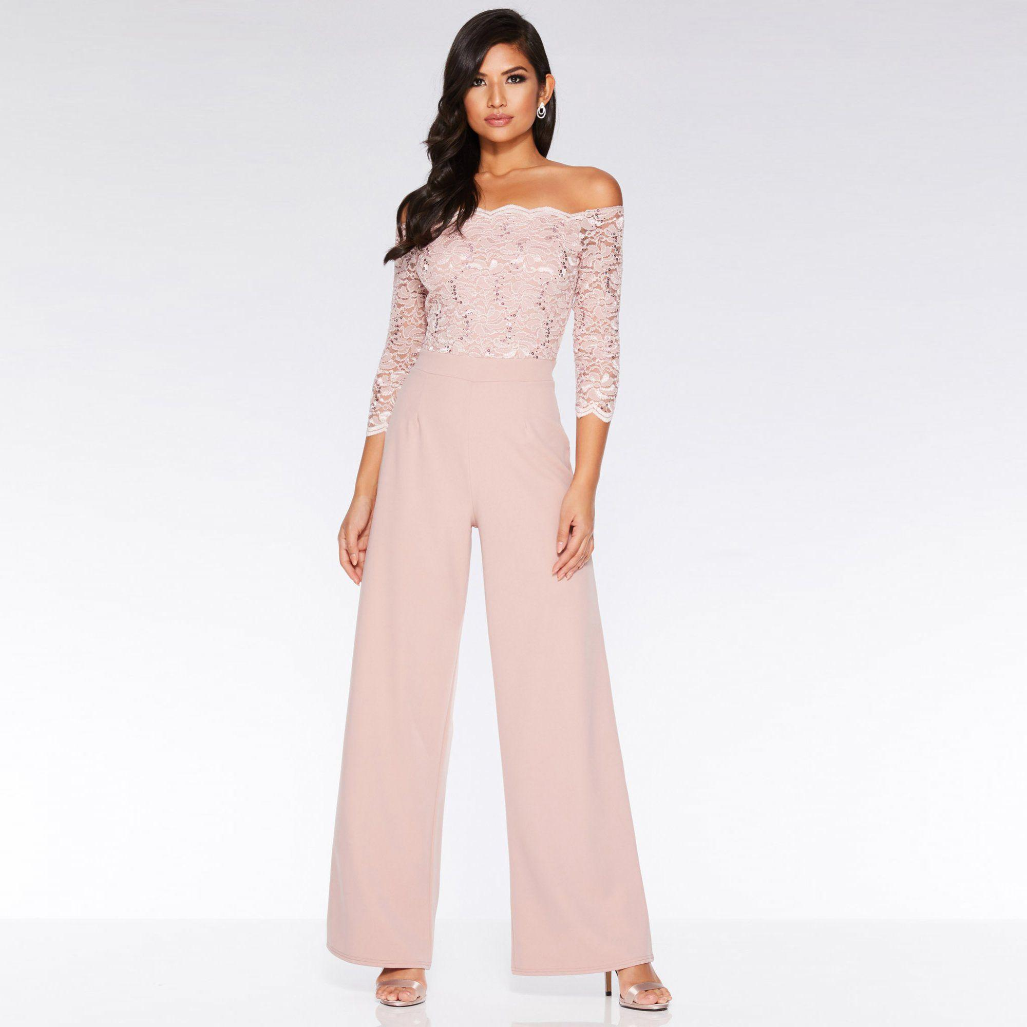 2ca30a21b13 Quiz Dusky Pink Lace Sequin Scallop Jumpsuit in Pink - Lyst