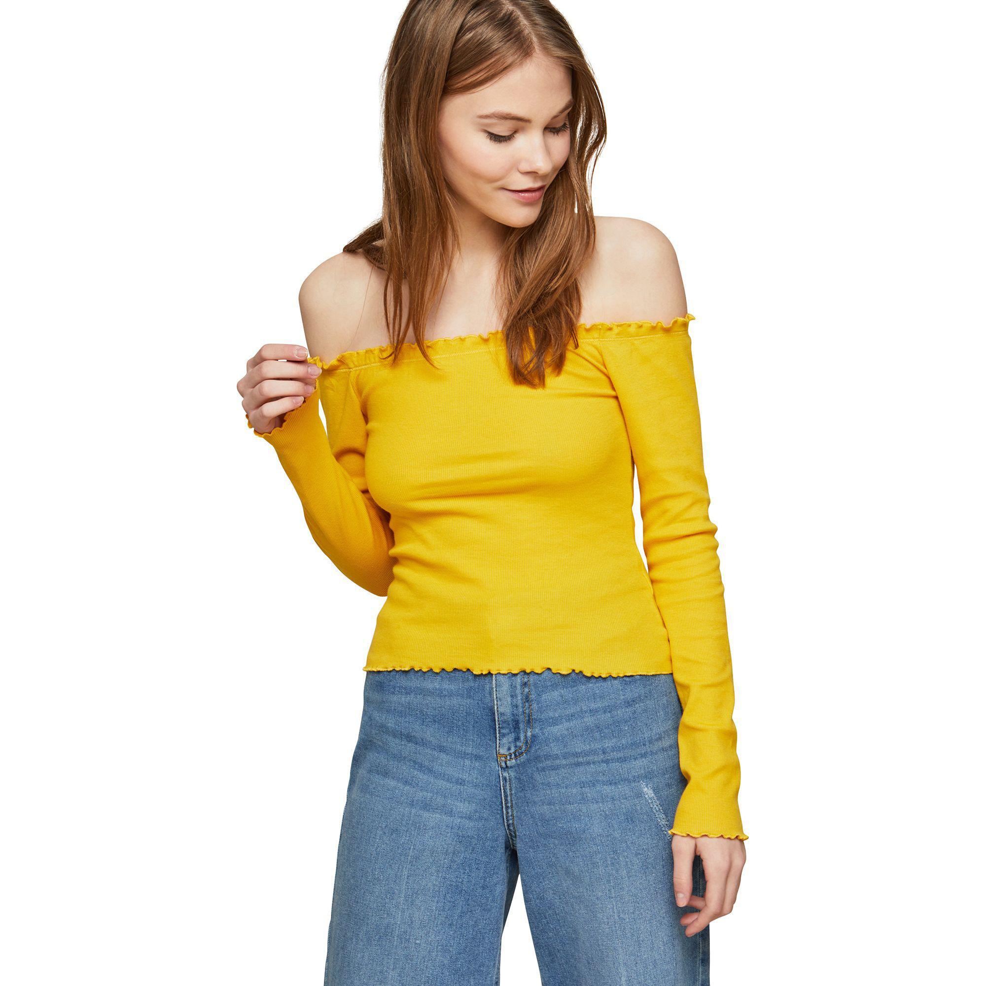 Lyst - Miss Selfridge Long Sleeve Lettuce Bardot Top in Yellow 4b6fec955