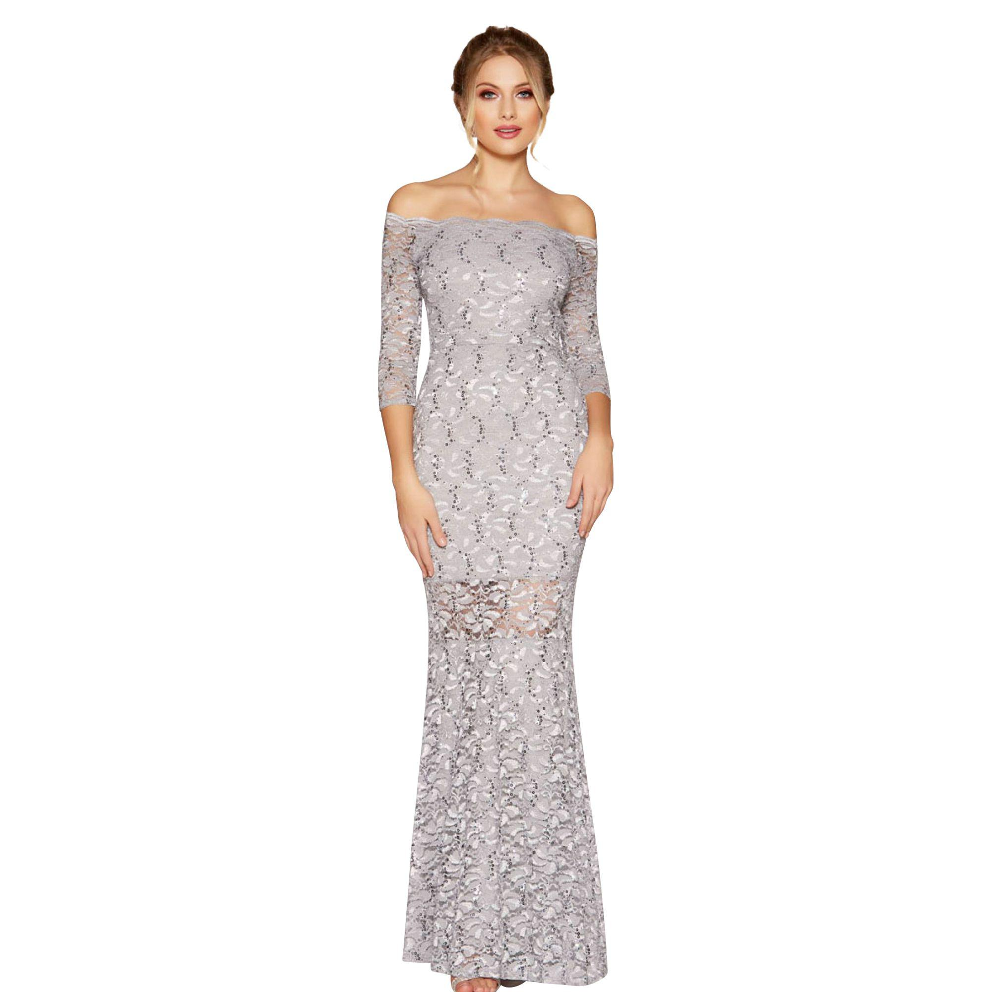 Quiz Grey Lace And Sequin Bardot Maxi Dress in Gray - Lyst 746e22059