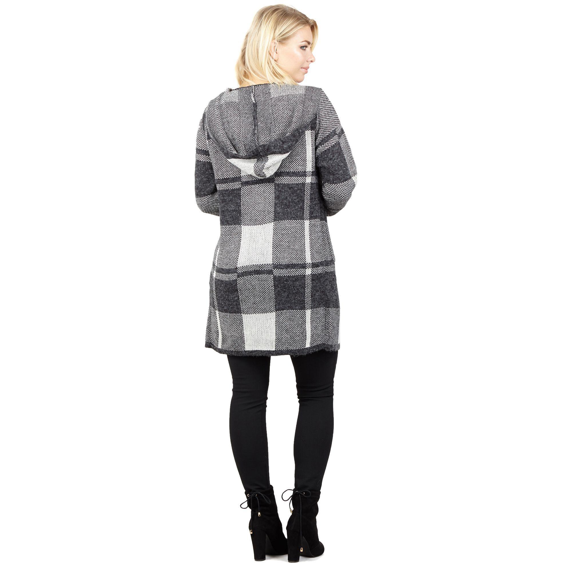 47e60a32d22 Izabel London Grey Patchwork Knit Cardigan in Gray - Lyst