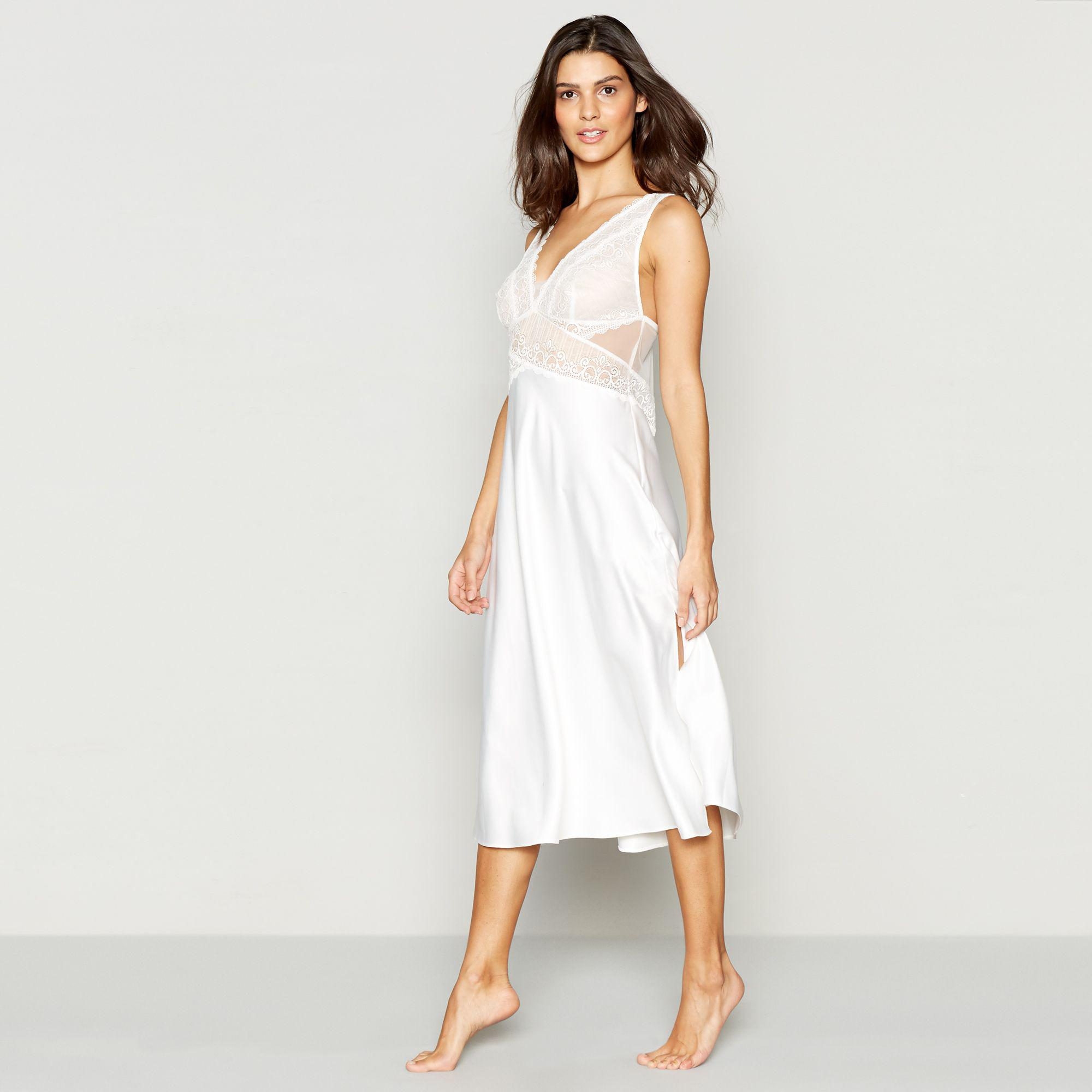J By Jasper Conran Ivory Bridal Lace Nightdress in White - Lyst