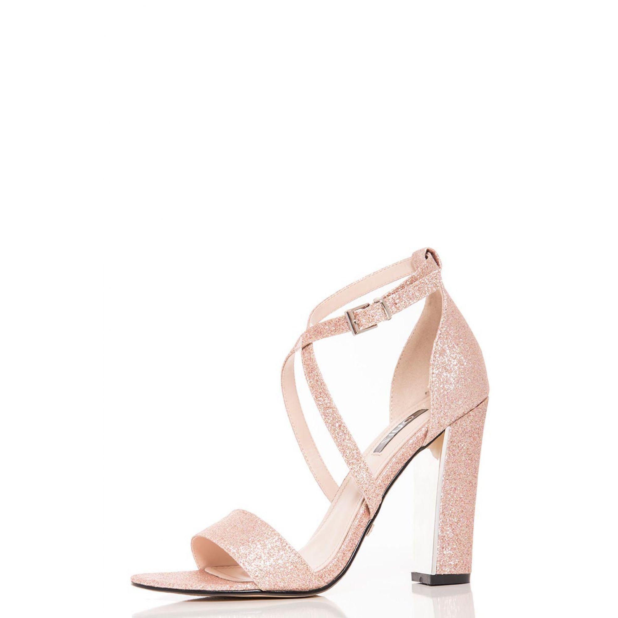 881ea379ae5 Quiz Rose Gold Glitter Block Heel Strappy Sandals in Metallic - Lyst