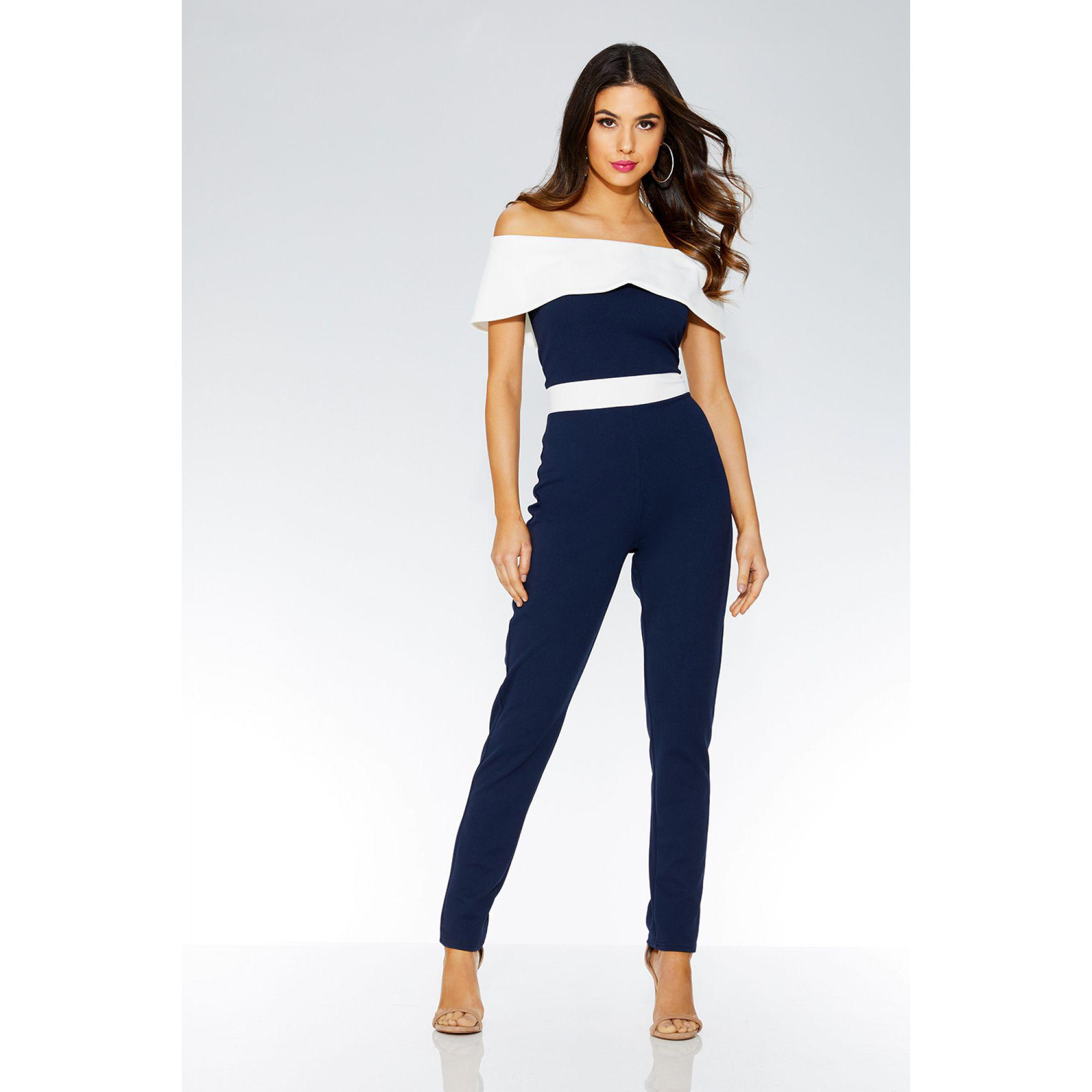 77353badc61 Quiz Navy And Cream Bardot Jumpsuit in Blue - Lyst