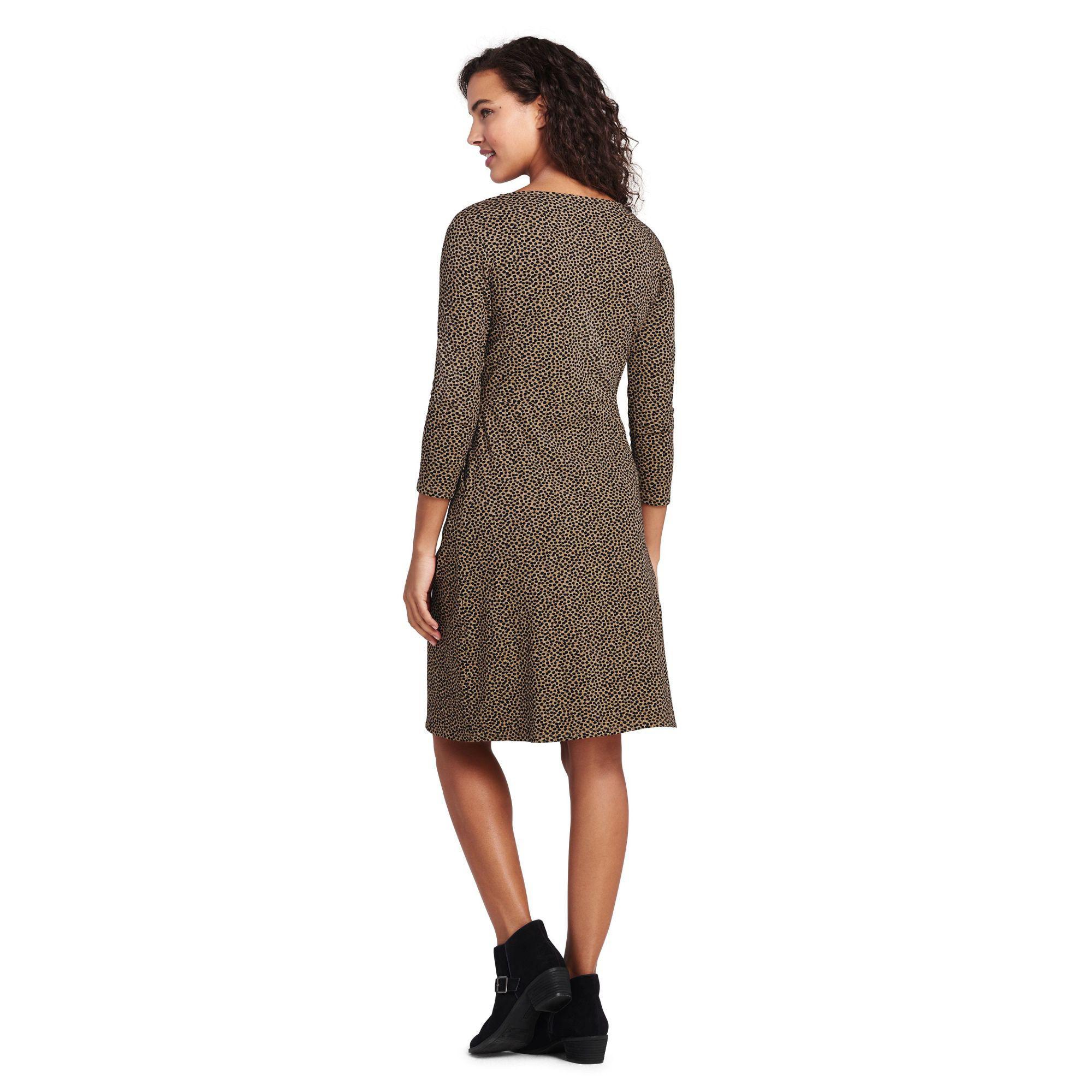 Lands End Womens Petite Cotton Jersey Sleeveless Swim Cover-up Dress Print