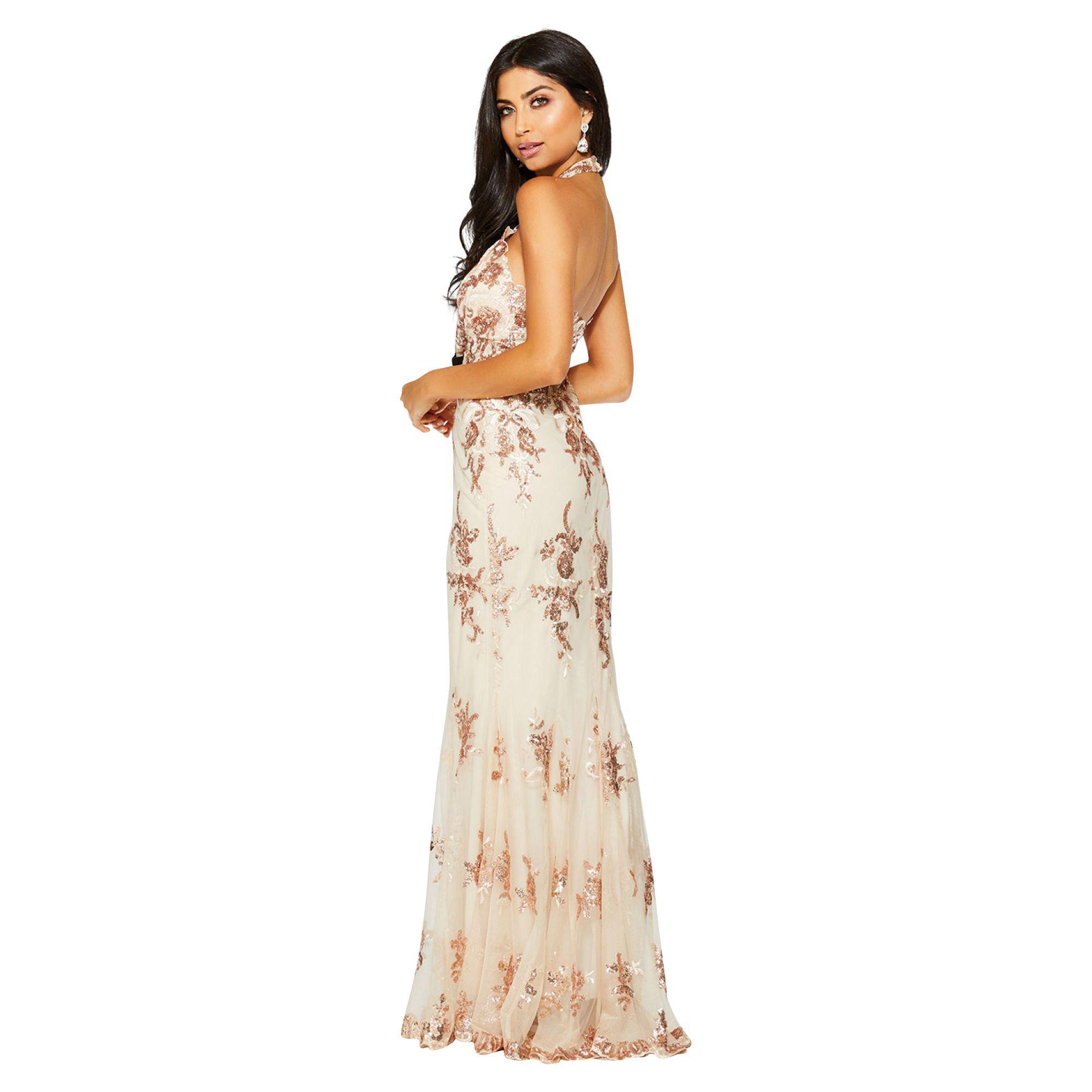 41b9c6cb6983 Quiz Rose Gold Chiffon Sequin Cut Out Maxi Dress in Metallic - Lyst
