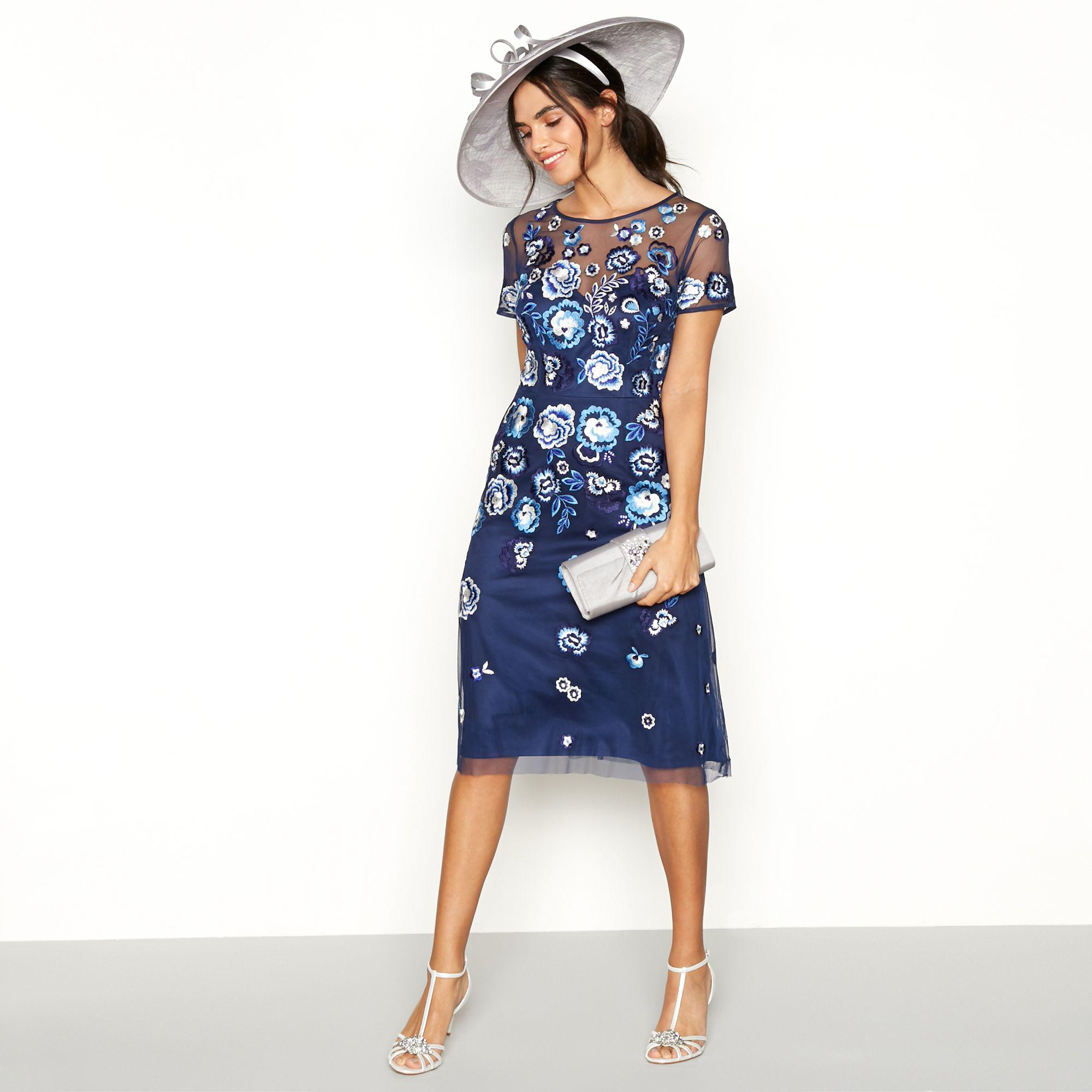 c2fe7b6671cc Jenny Packham Navy Embroidered  andrea  Tea Dress in Blue - Lyst