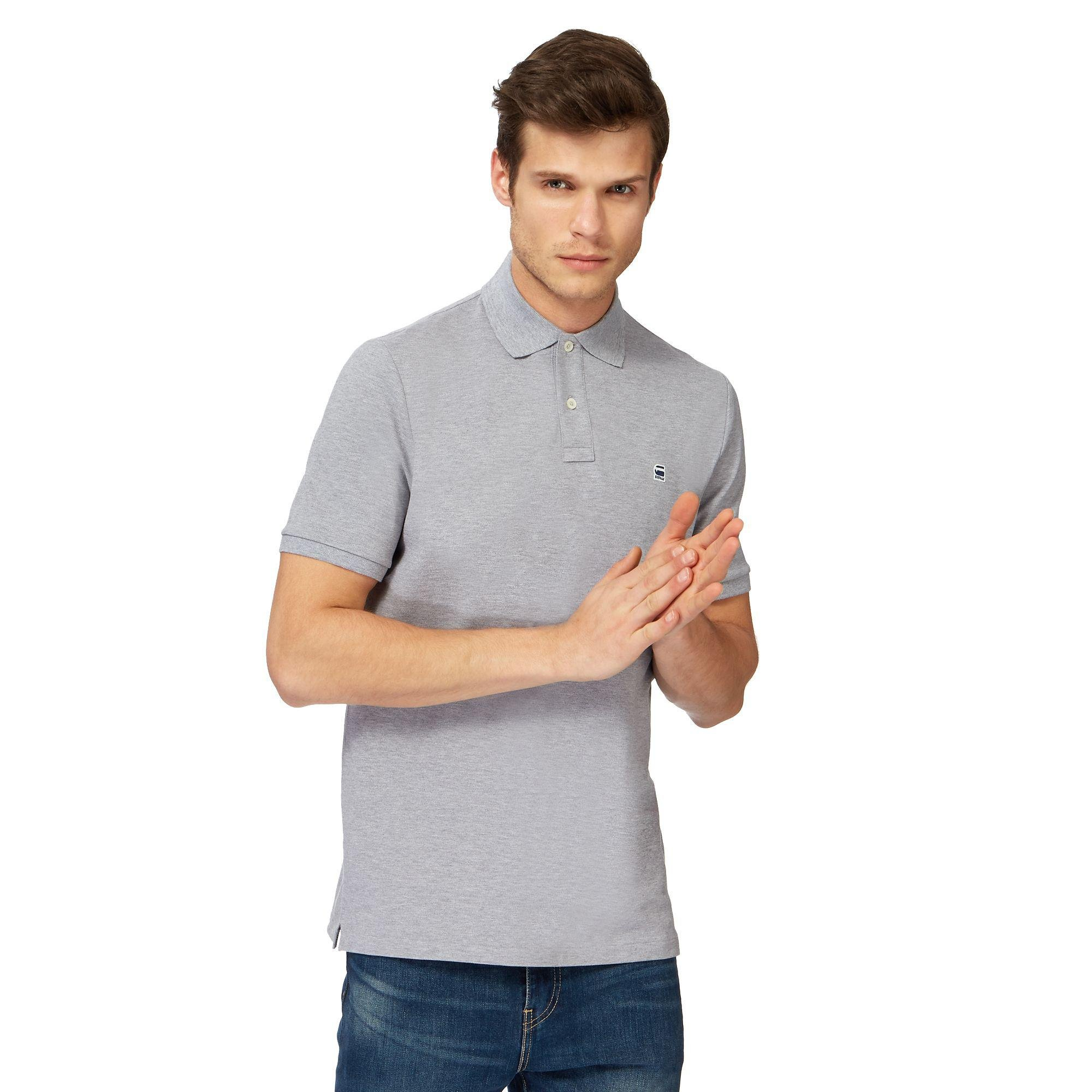 e8bfe370833 G-Star RAW Grey Embroidered Logo Slim Fit Polo Shirt in Gray for Men ...