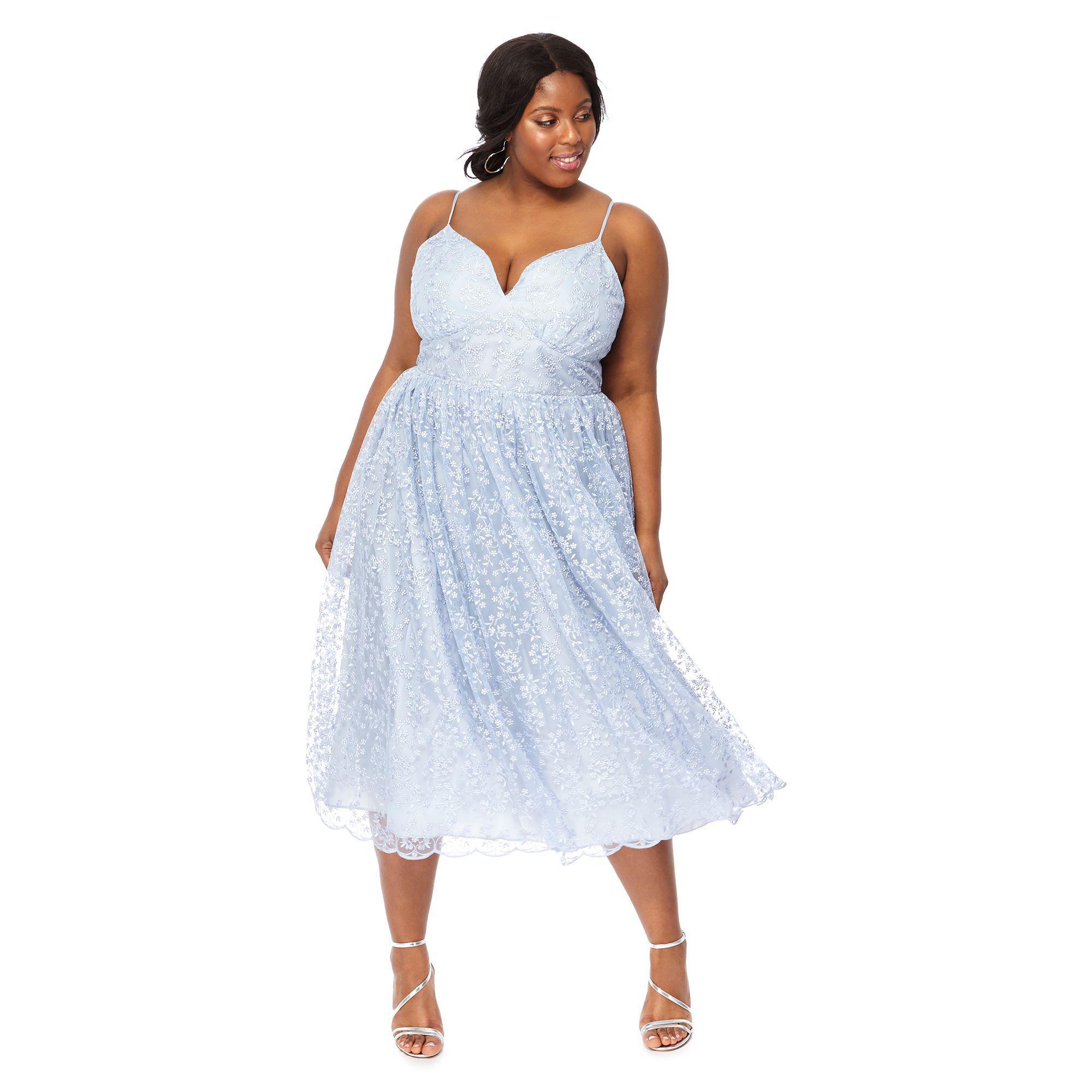 afa40841988 Début Light Blue  madeline  Embroidered V-neck Plus Size Midi Dress ...