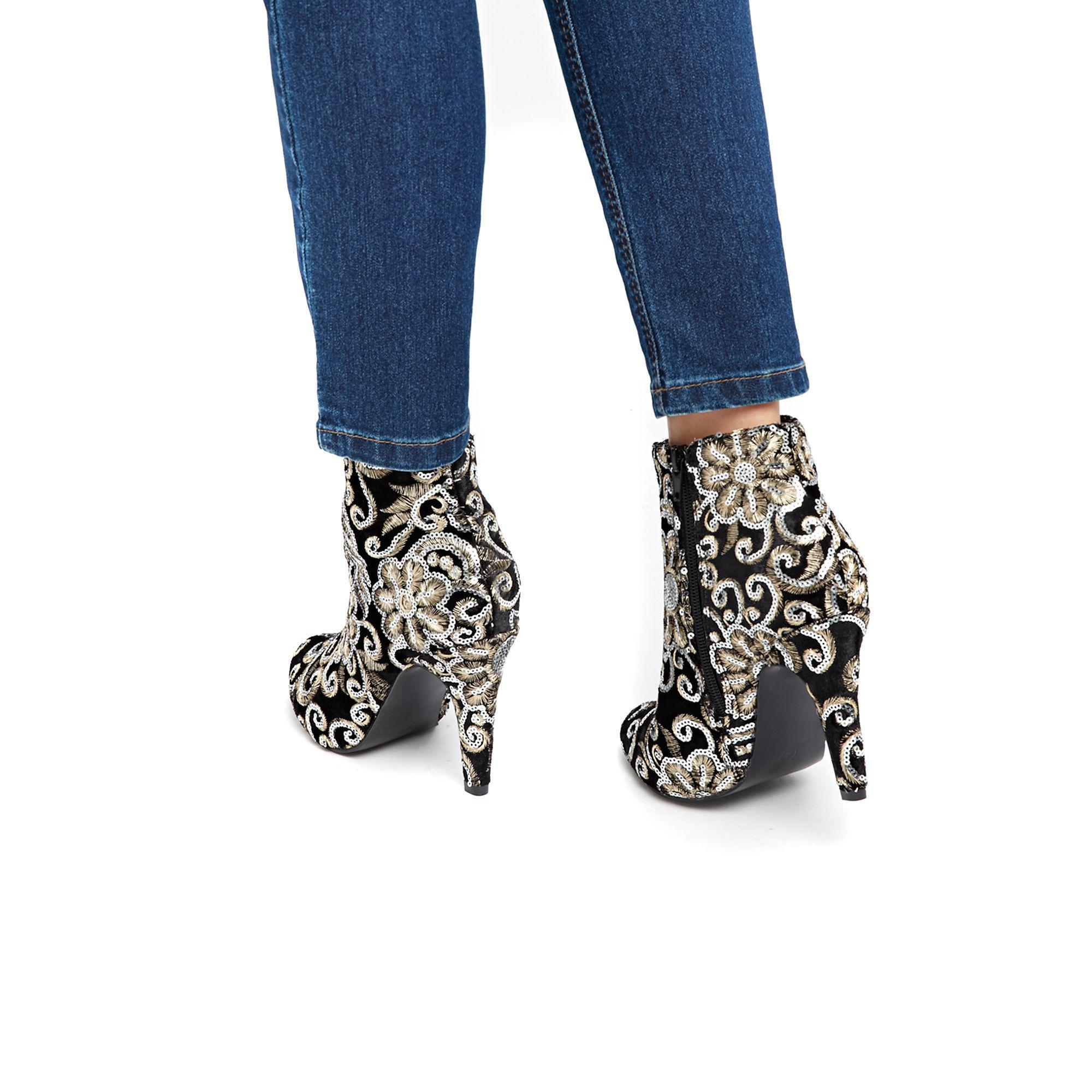 Wallis Denim Black Patterned Ankle Boots