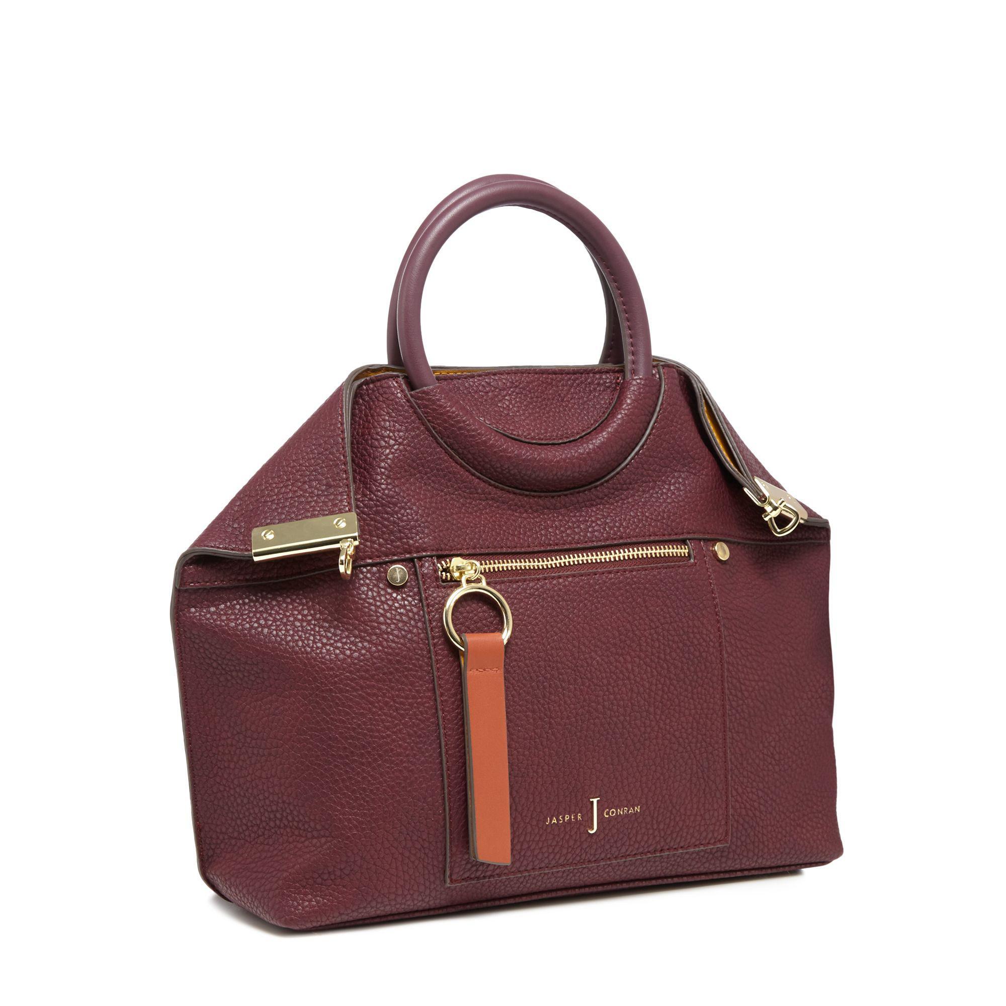 J By Jasper Conran Wine Red Ring Handle Tote Bag