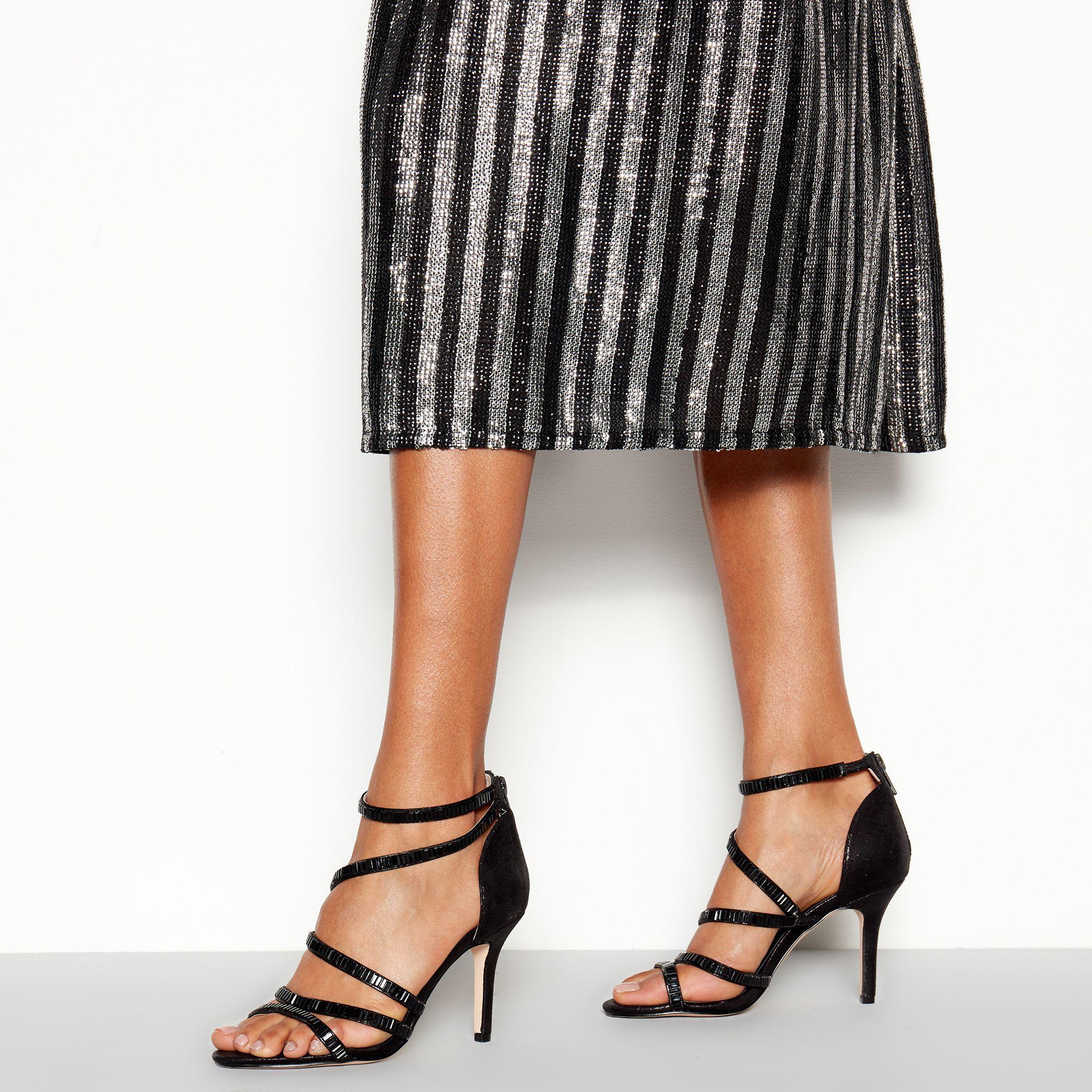 32af483afc Faith Black Embellished 'linea' Stiletto Heel Sandals in Black - Lyst