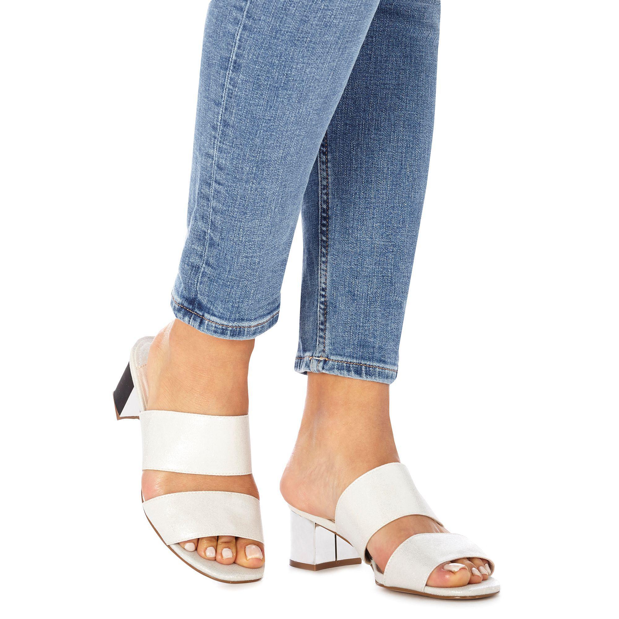 6436d2b0a4c Faith Silver  winona  Mid Block Heel Wide Fit Sandals in Metallic - Lyst
