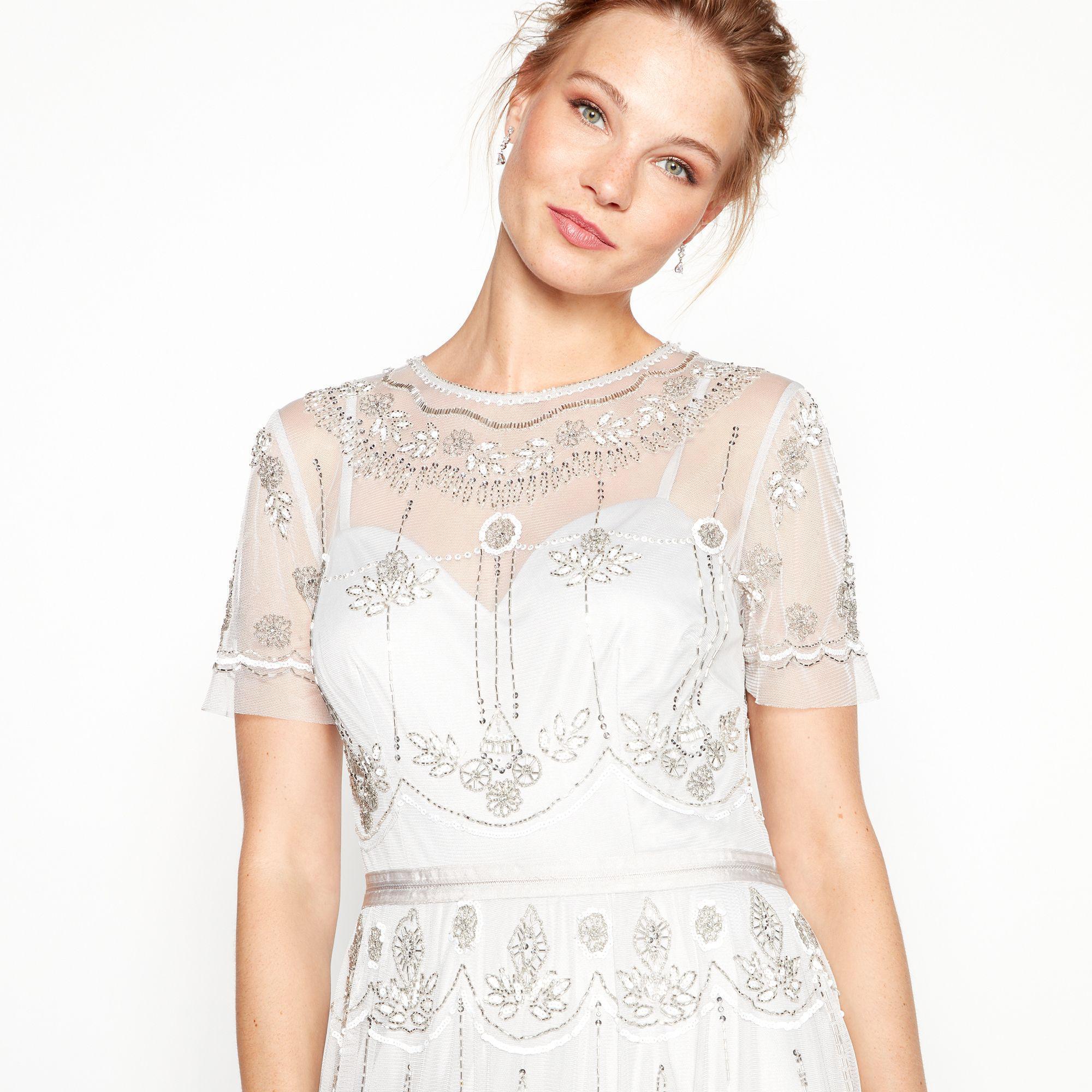 e3ea6e474ce Jenny Packham - Metallic Silver Embroidered Round Neck Short Sleeve Midi  Evening Dress - Lyst. View fullscreen