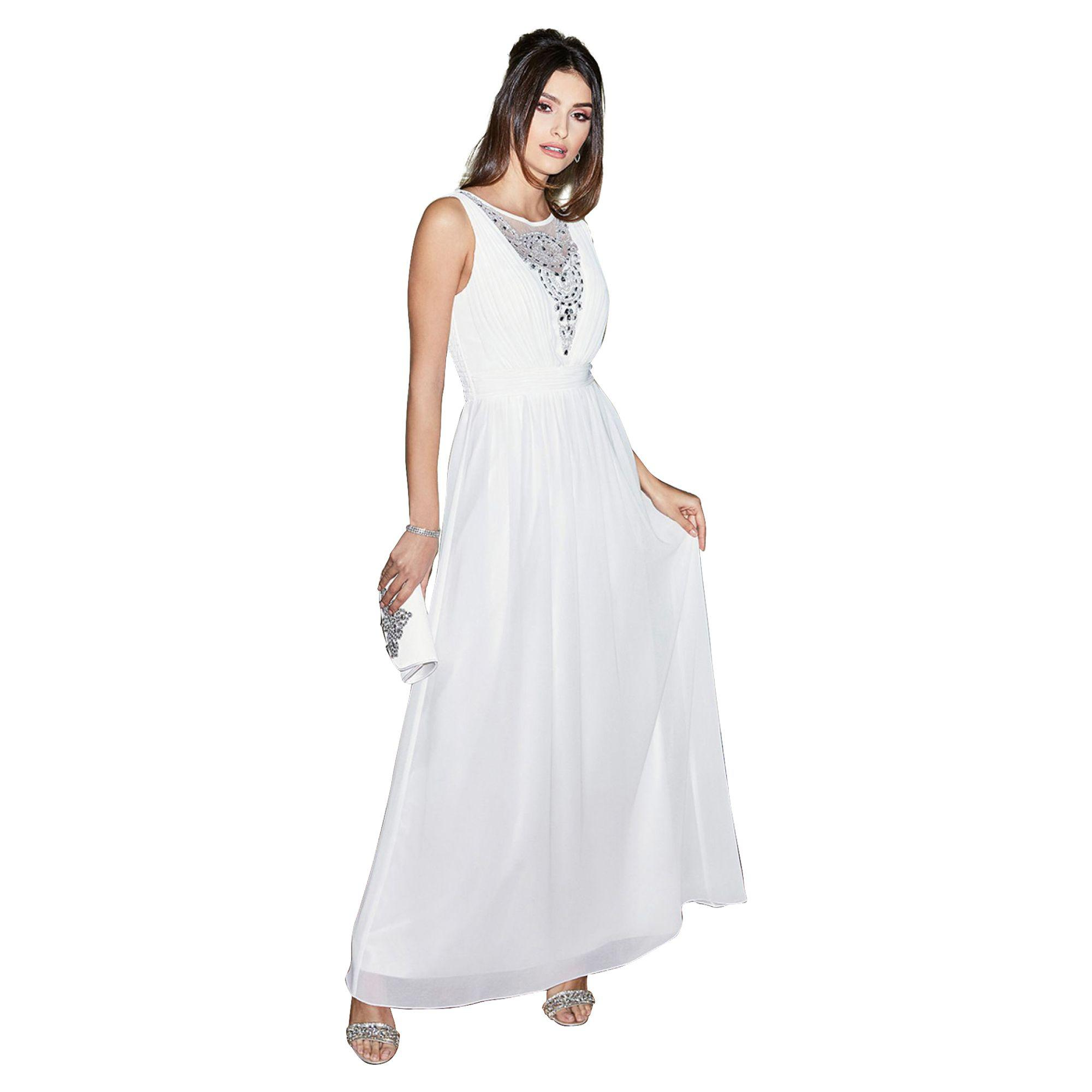 Quiz Ruby White Chiffon Diamante Bridal Dress in White - Lyst