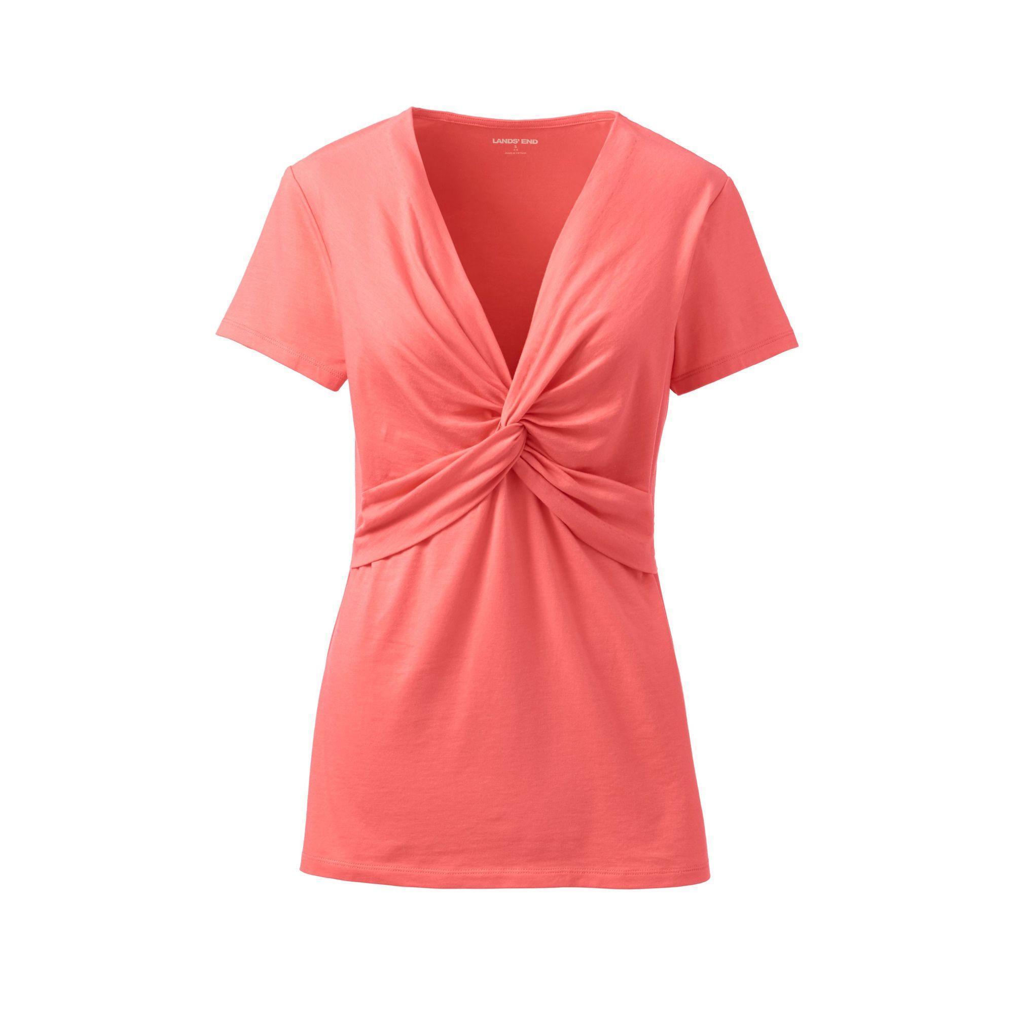 61978fa328a Lands' End. Women's Orange Petite Lightweight Cotton-modal Knot Front T- shirt