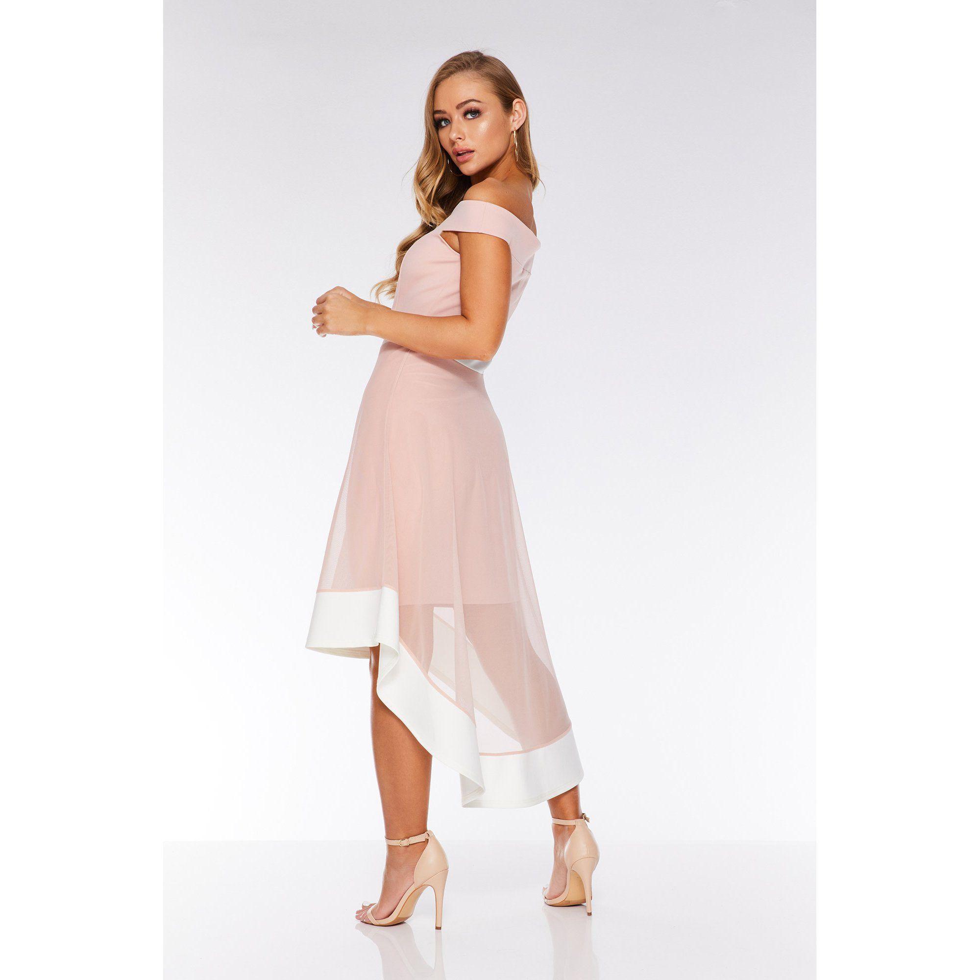 cba0bacc0d62 Quiz - Pink And Cream Bardot Mesh Dip Hem Dress - Lyst. View fullscreen