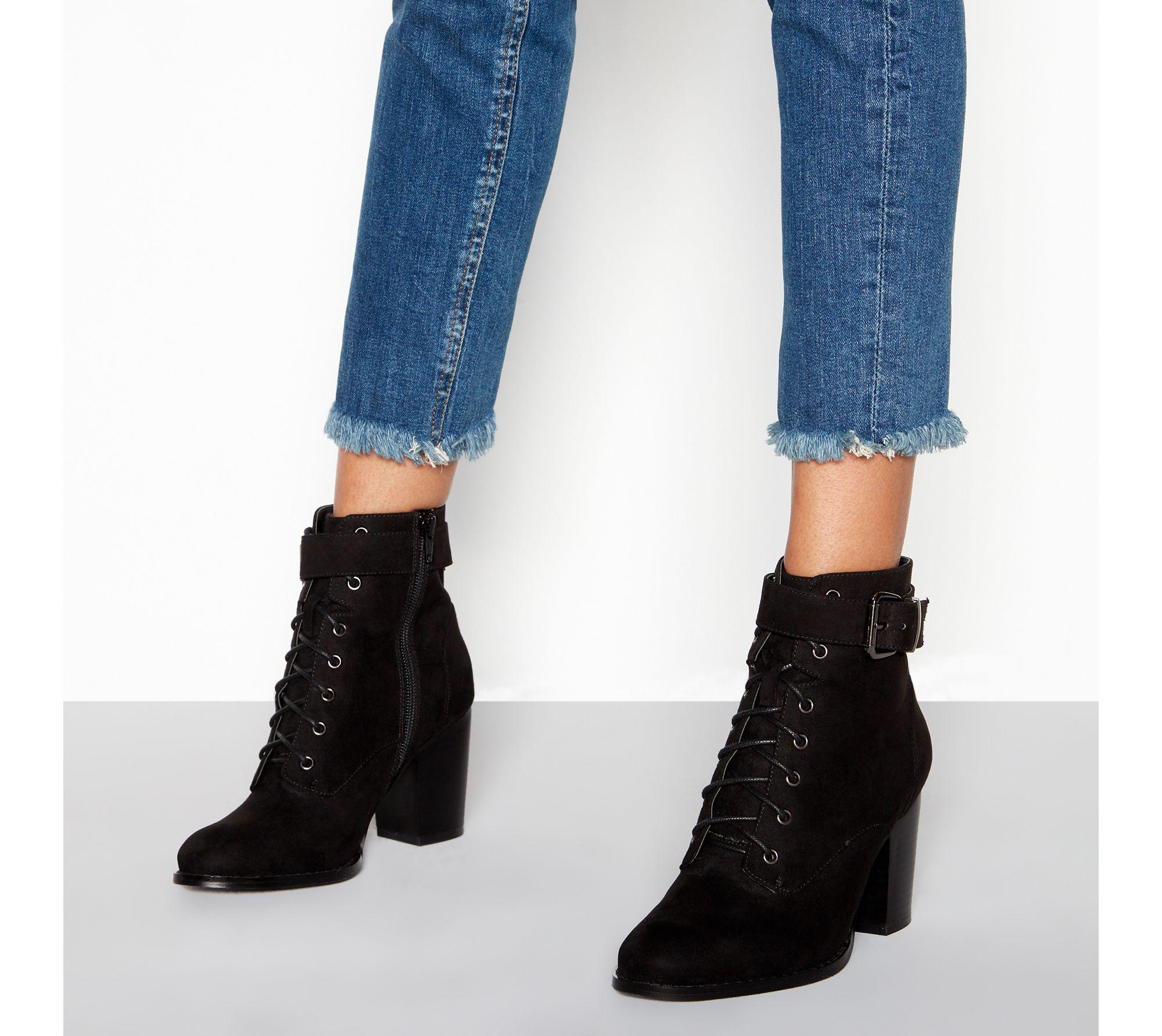 7f1435859e94 Faith. Women s Black Suedette Lace-up  willoughby  Block Heel Wide Fit  Ankle Boots