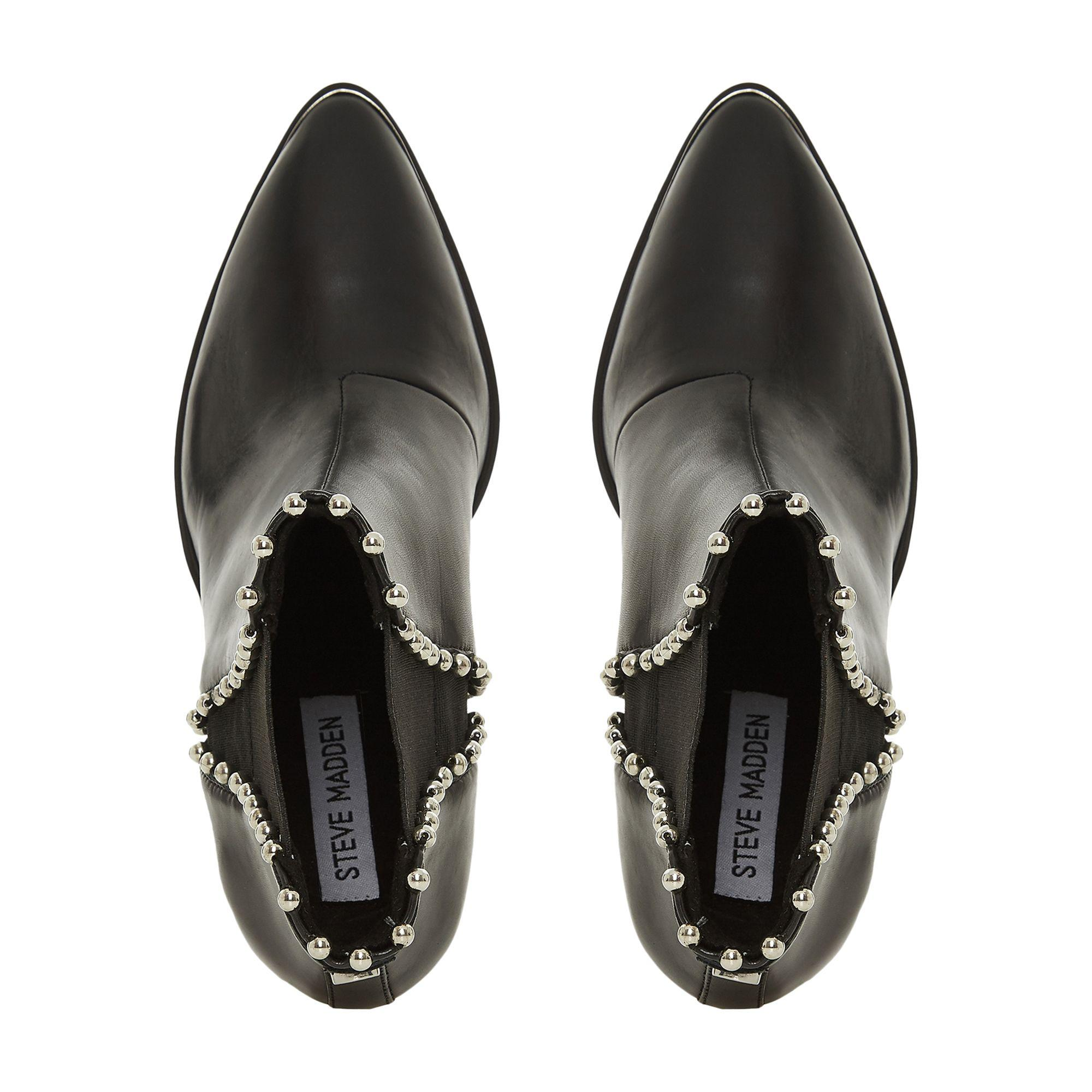 b31750b7675 Steve Madden - Black Leather  himmer   Block Heel Ankle Boots - Lyst. View  fullscreen