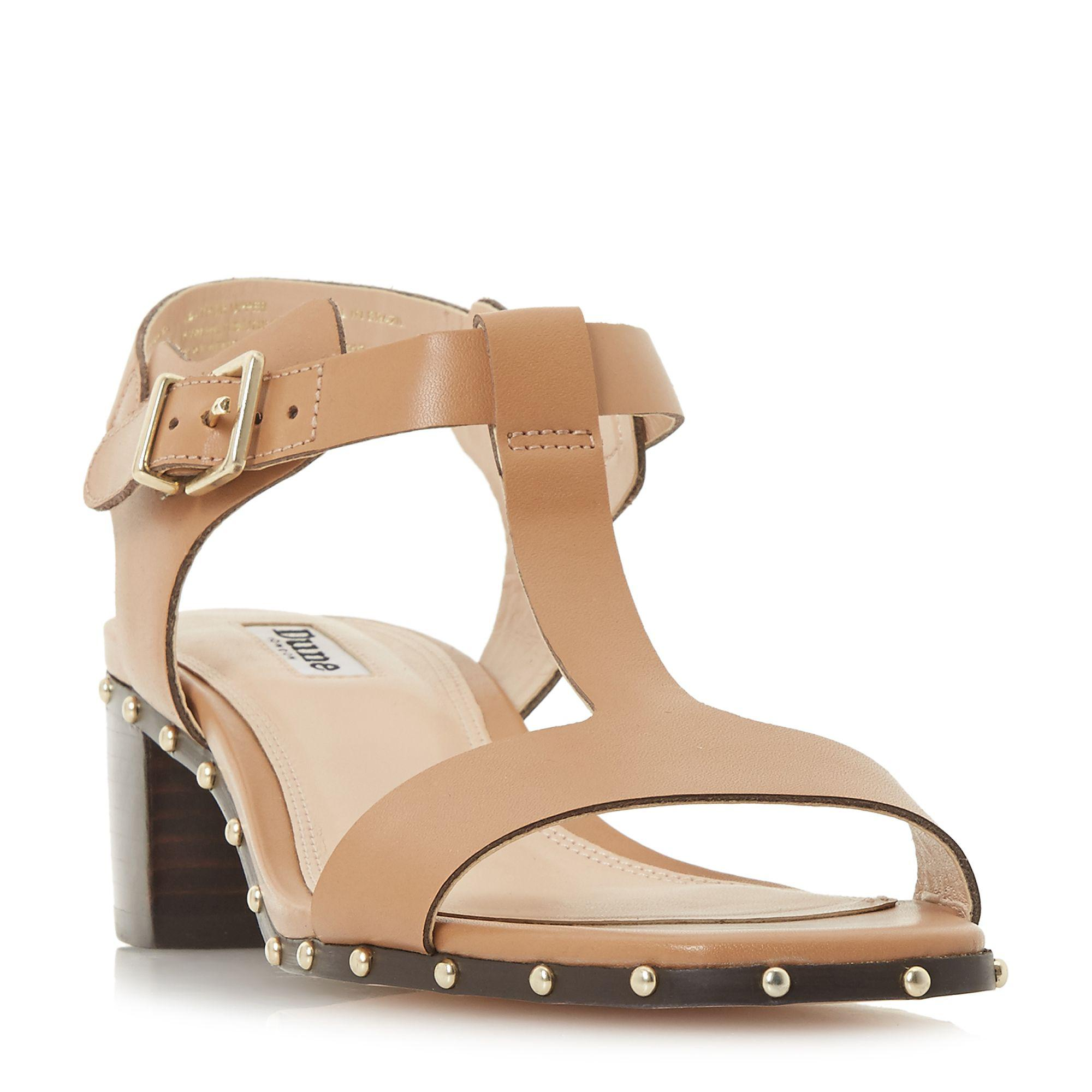 10830a770185 Dune Camel Leather  isadora  Mid Block Heel T-bar Sandals in Natural ...