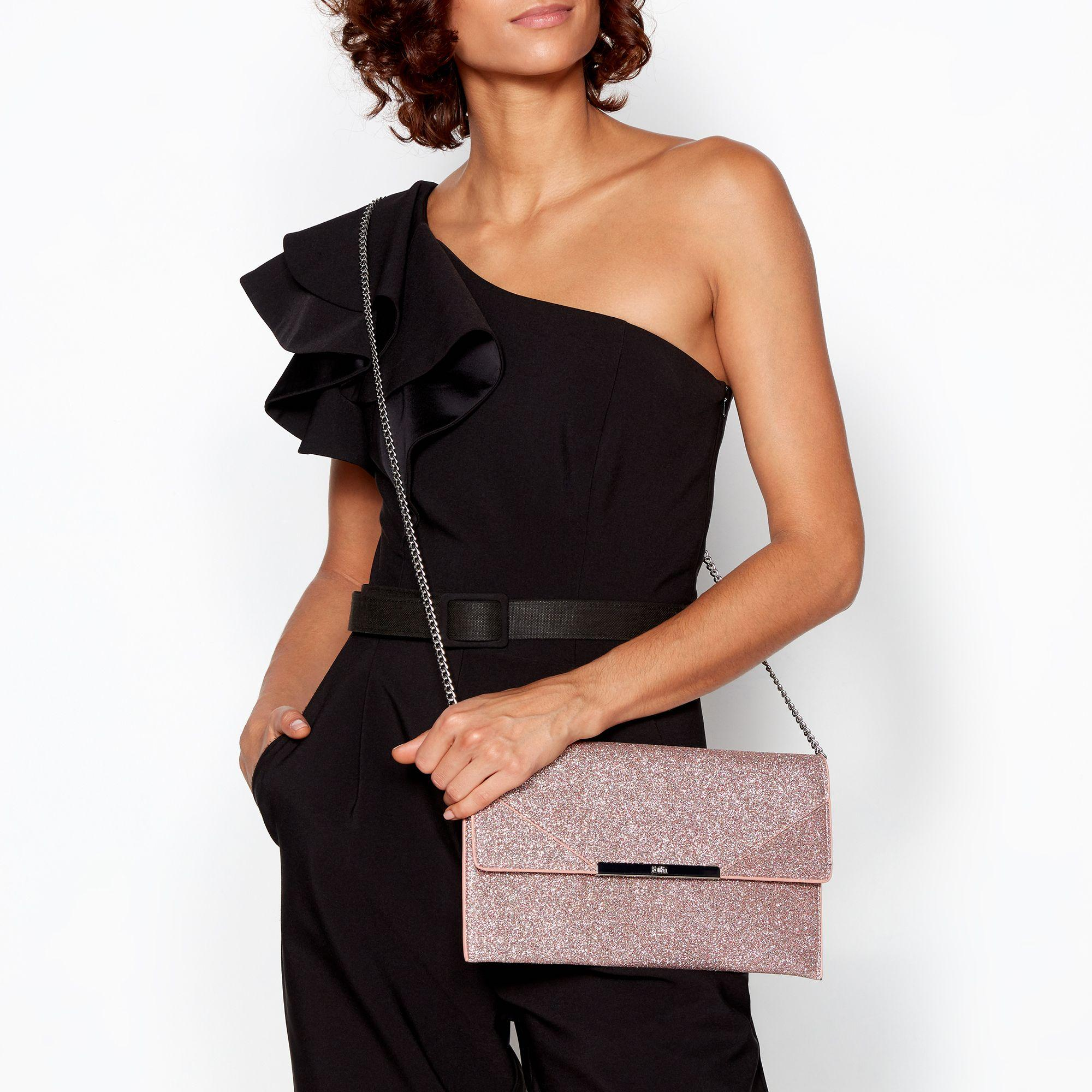 02b1bd3e1f Faith Pink Glitter 'patricia' Envelope Clutch Bag in Pink - Lyst