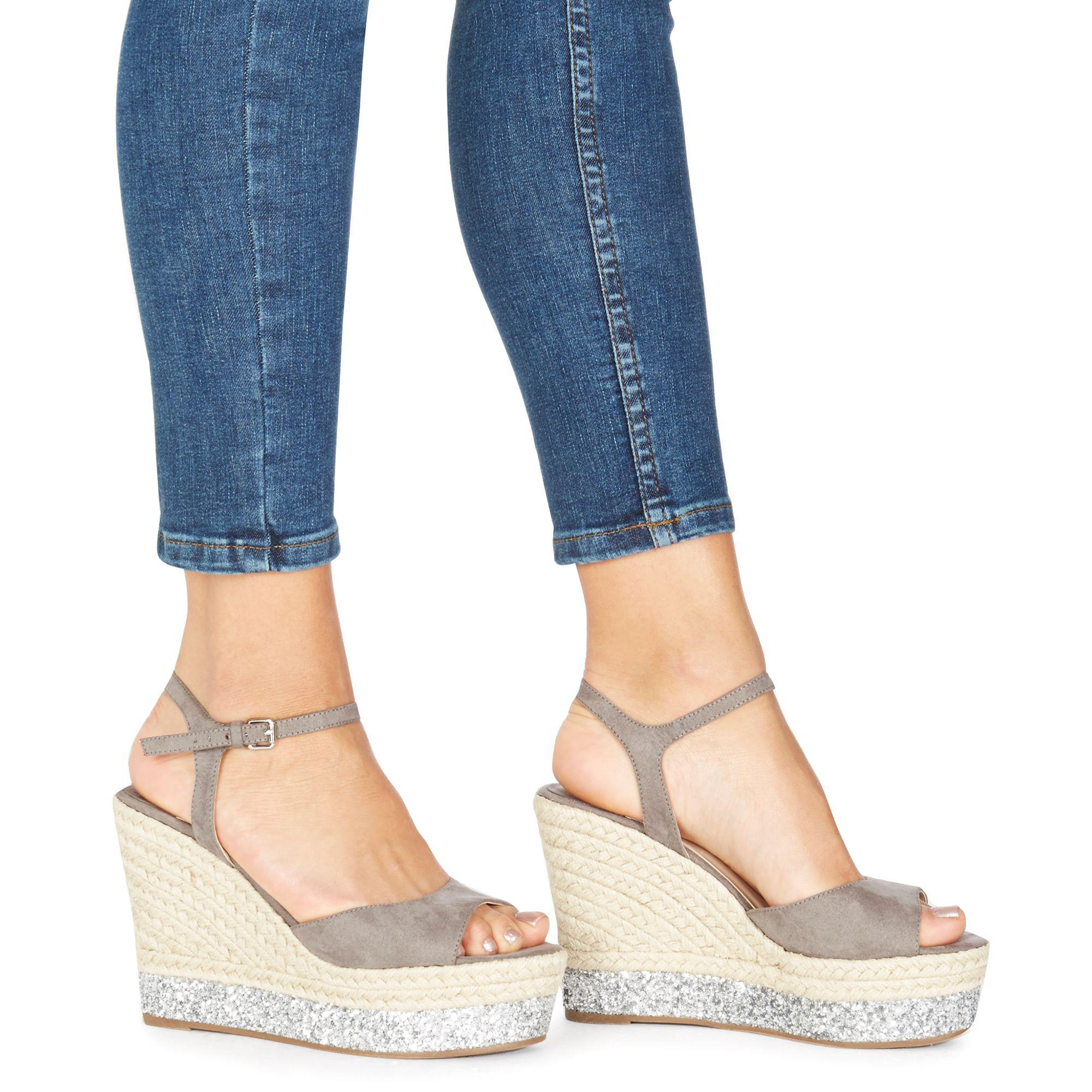 3c8934b8736 Faith Grey 'liddy' High Wedge Heel Ankle Strap Sandals in Gray - Lyst