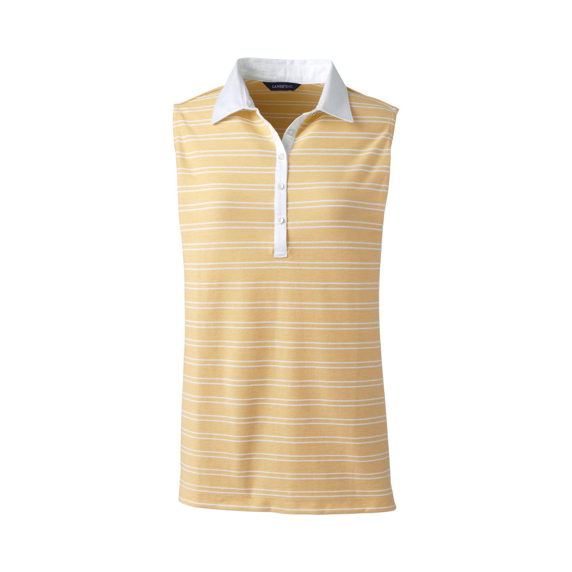 145125b473b7ea Lands  End Gold Petite Sleeveless Stripe Woven Collar Polo Shirt in ...