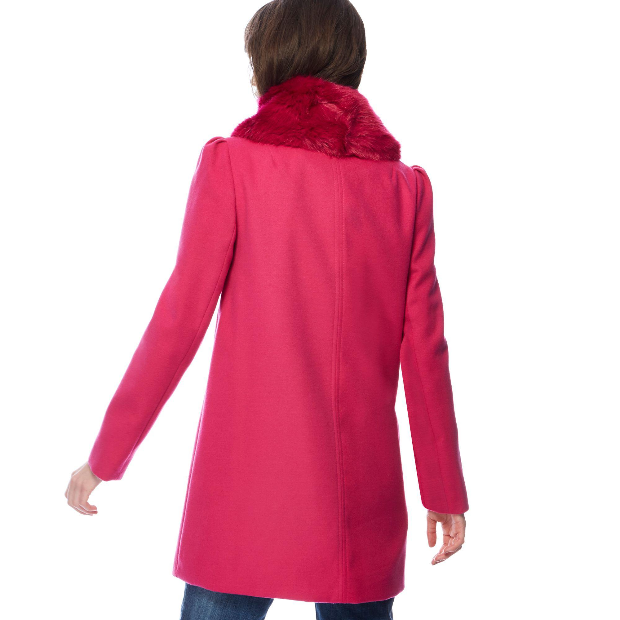 0a3906da52b08 Red Herring Bright Pink Faux Fur Collar Dolly Coat in Pink - Lyst